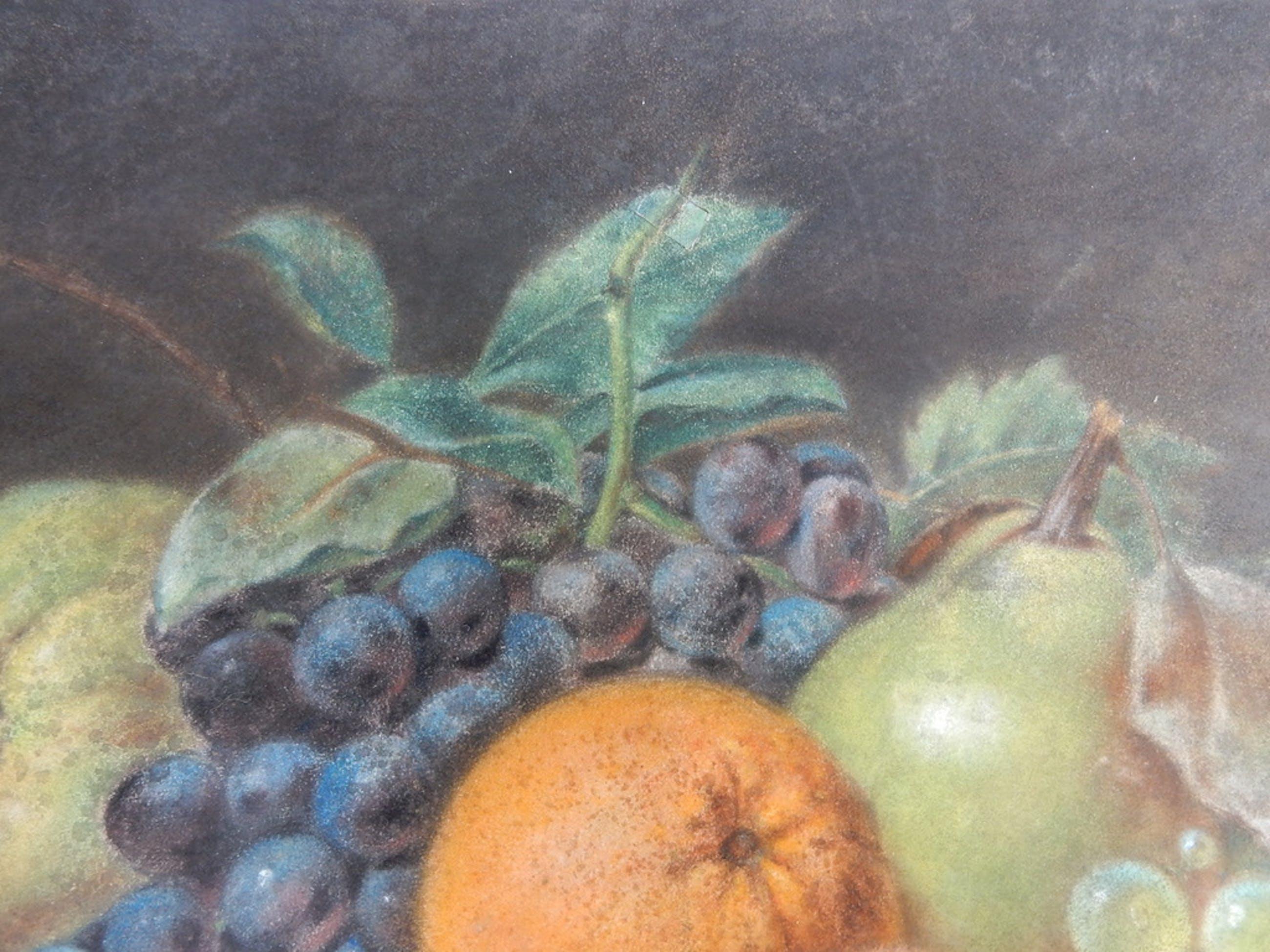 toegeschreven aan:Anthony Oberman, stilleven / fruit op dik briefpapier. pastel. kopen? Bied vanaf 200!