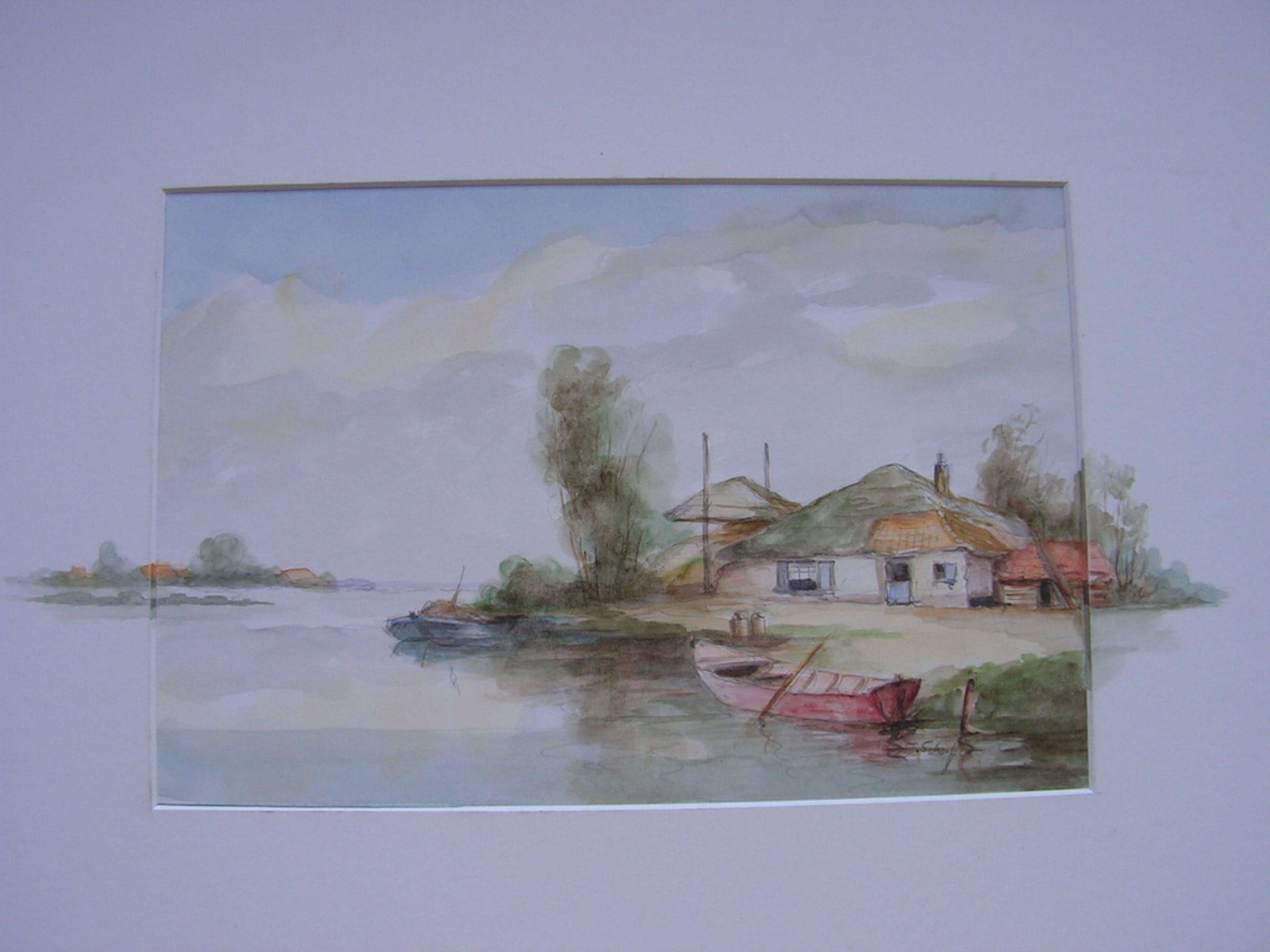 'DAKA' aanbieding;  J.Schouten?  -  aquarel - boerderij aan rivier. kopen? Bied vanaf 23!