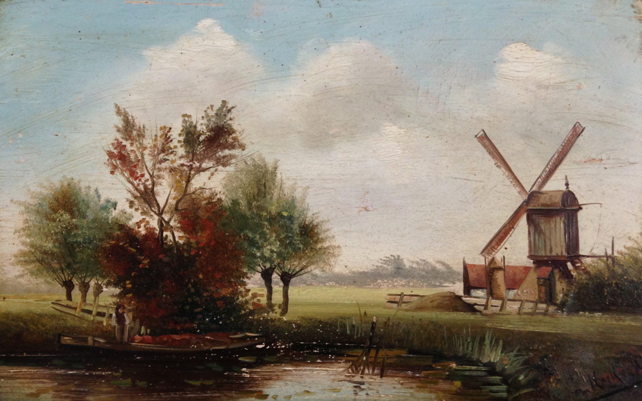 """Onduidelijke signatuur, Olieverf op paneel, 'Wipmolen in Hollands landschap"""" kopen? Bied vanaf 1!"""