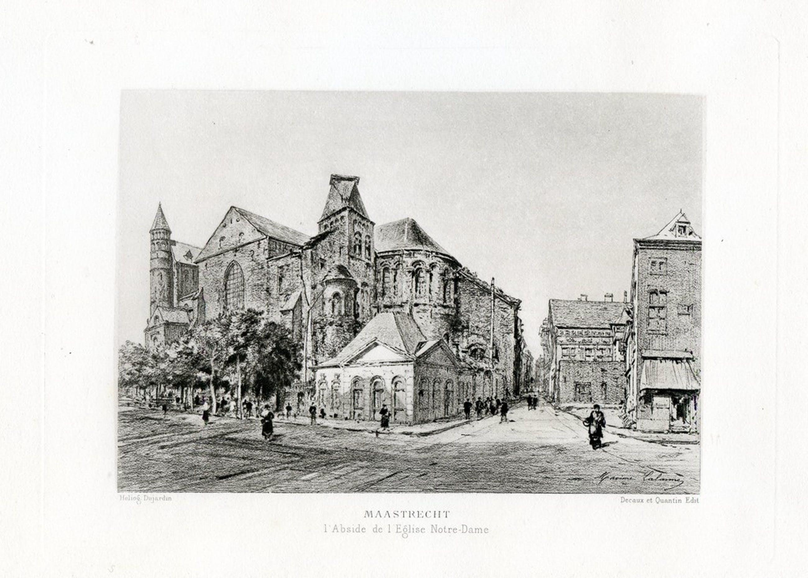 "Maxime Lalanne 1881 ""De Absis van de O.L.V. Kerk te Maastricht"" - Gravure kopen? Bied vanaf 25!"