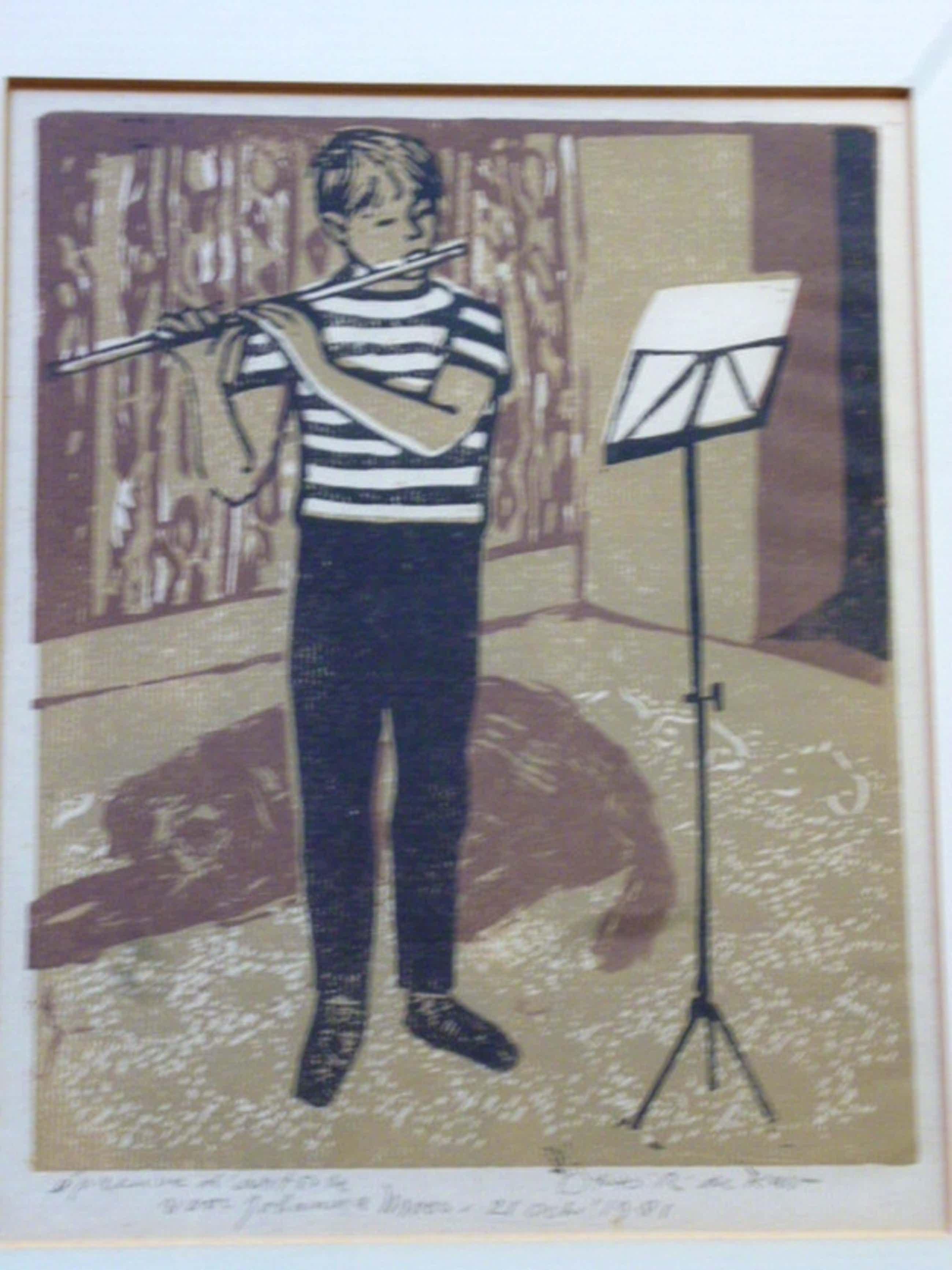 Otto B. de Kat - kleurenlinosnede - Fluitspelertje kopen? Bied vanaf 110!