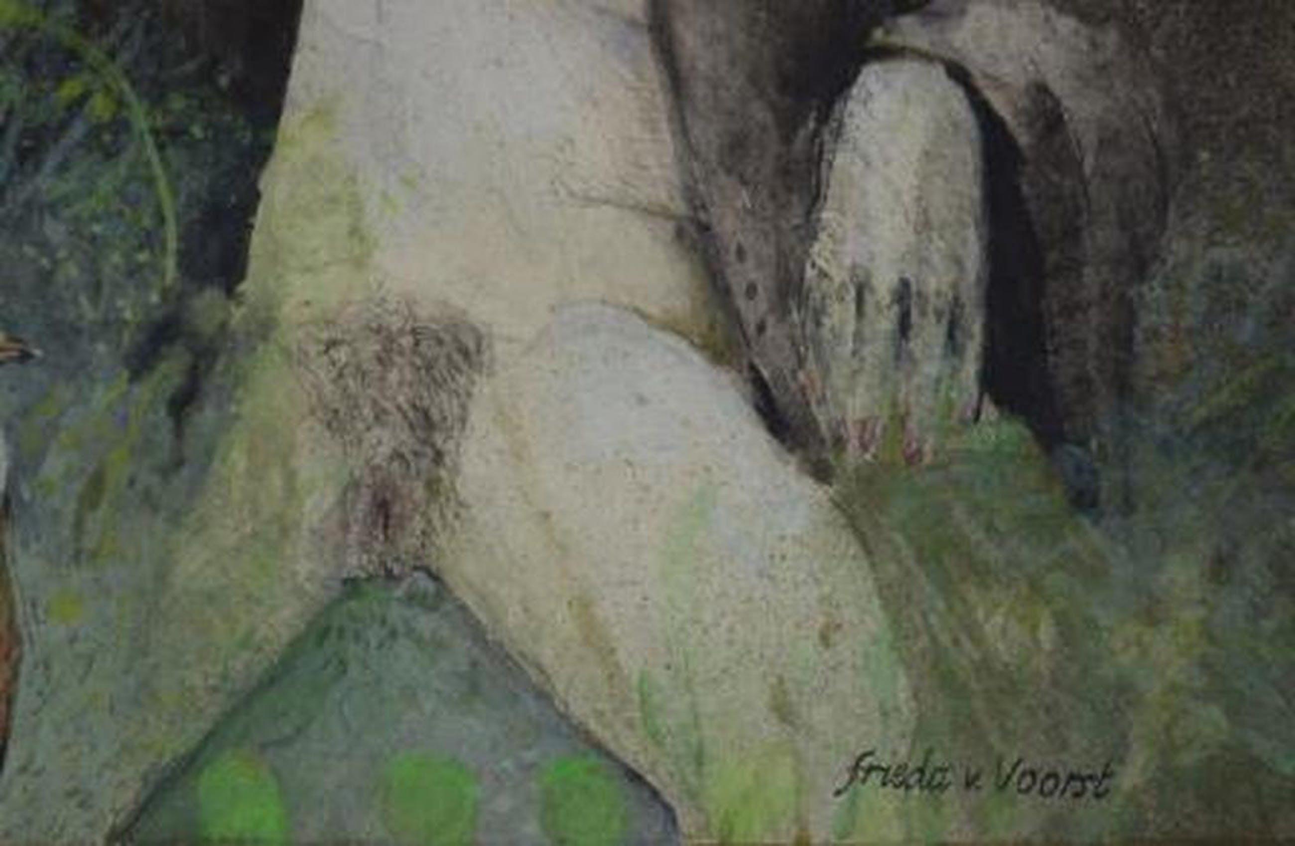 Frieda van Voorst (Den Haag 1949- Witkuifgaai, 1979 30x23   kopen? Bied vanaf 90!