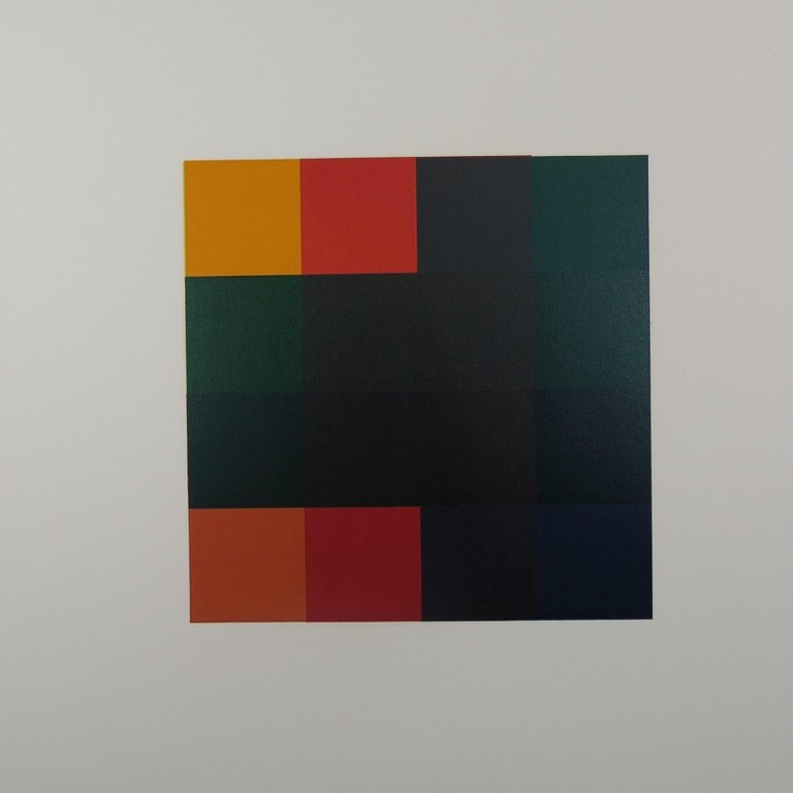 Michiel Duvekot: Linosnede, Geometrische compositie met vierkanten, Nr. 7 'G' kopen? Bied vanaf 35!