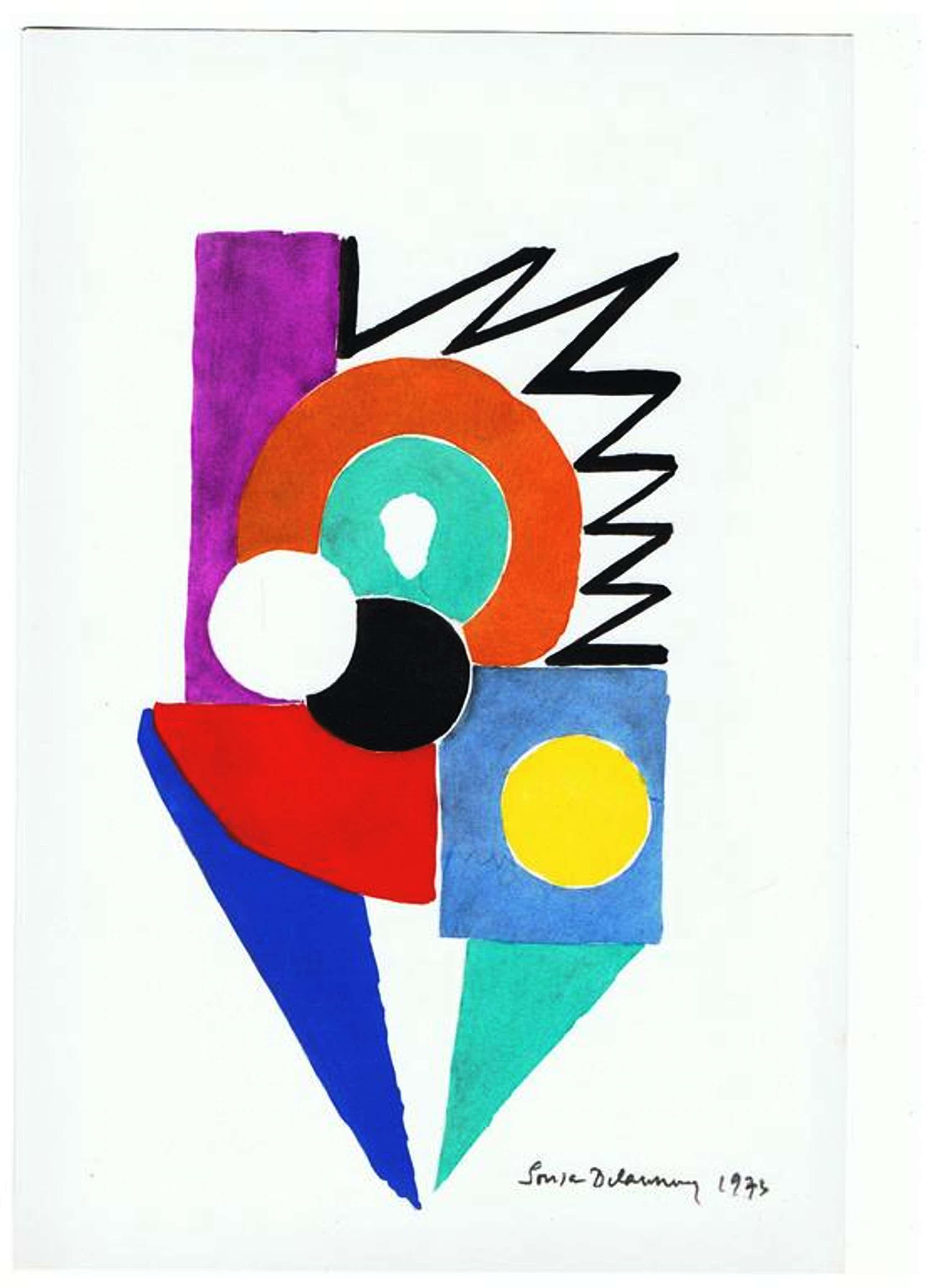 "Sonia Delaunay-""DANSEUSE""-Pochoir-1969-Gesigneerd kopen? Bied vanaf 250!"