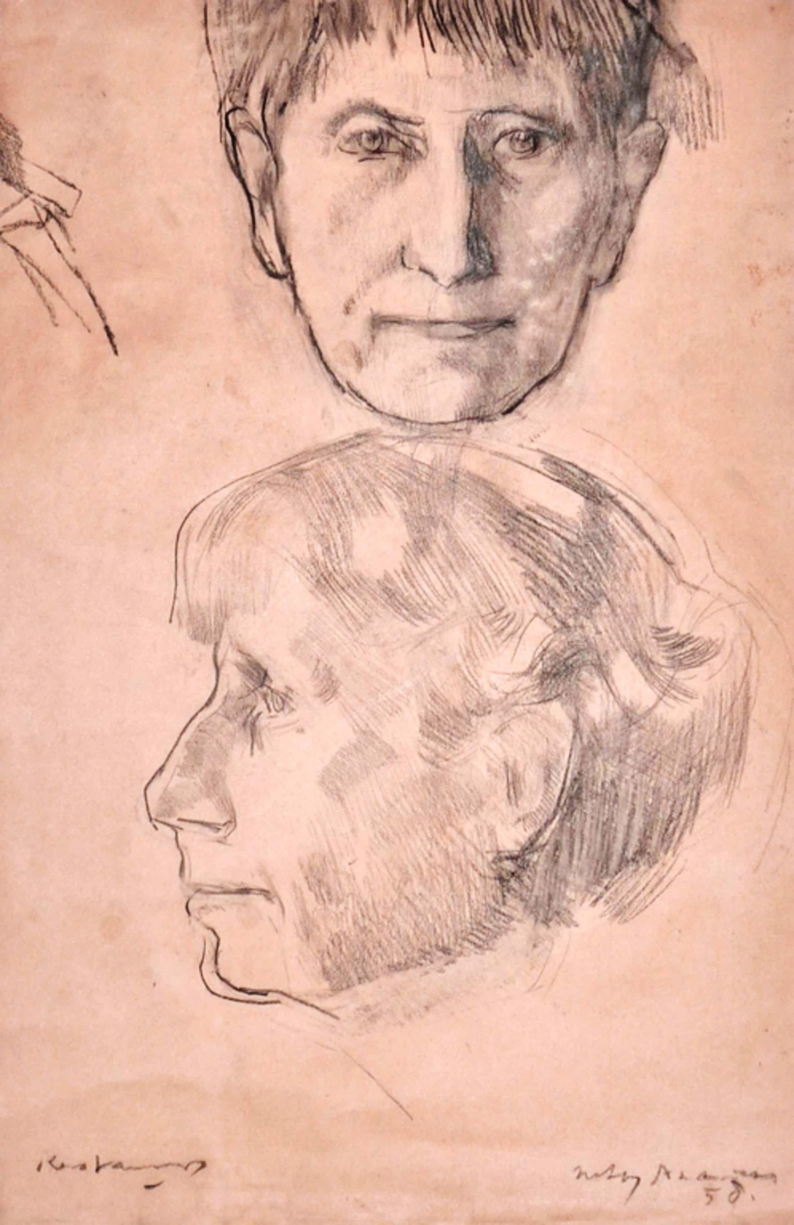Kees Verwey, Krijttekening, Dubbele portrettekening, 1958 kopen? Bied vanaf 200!