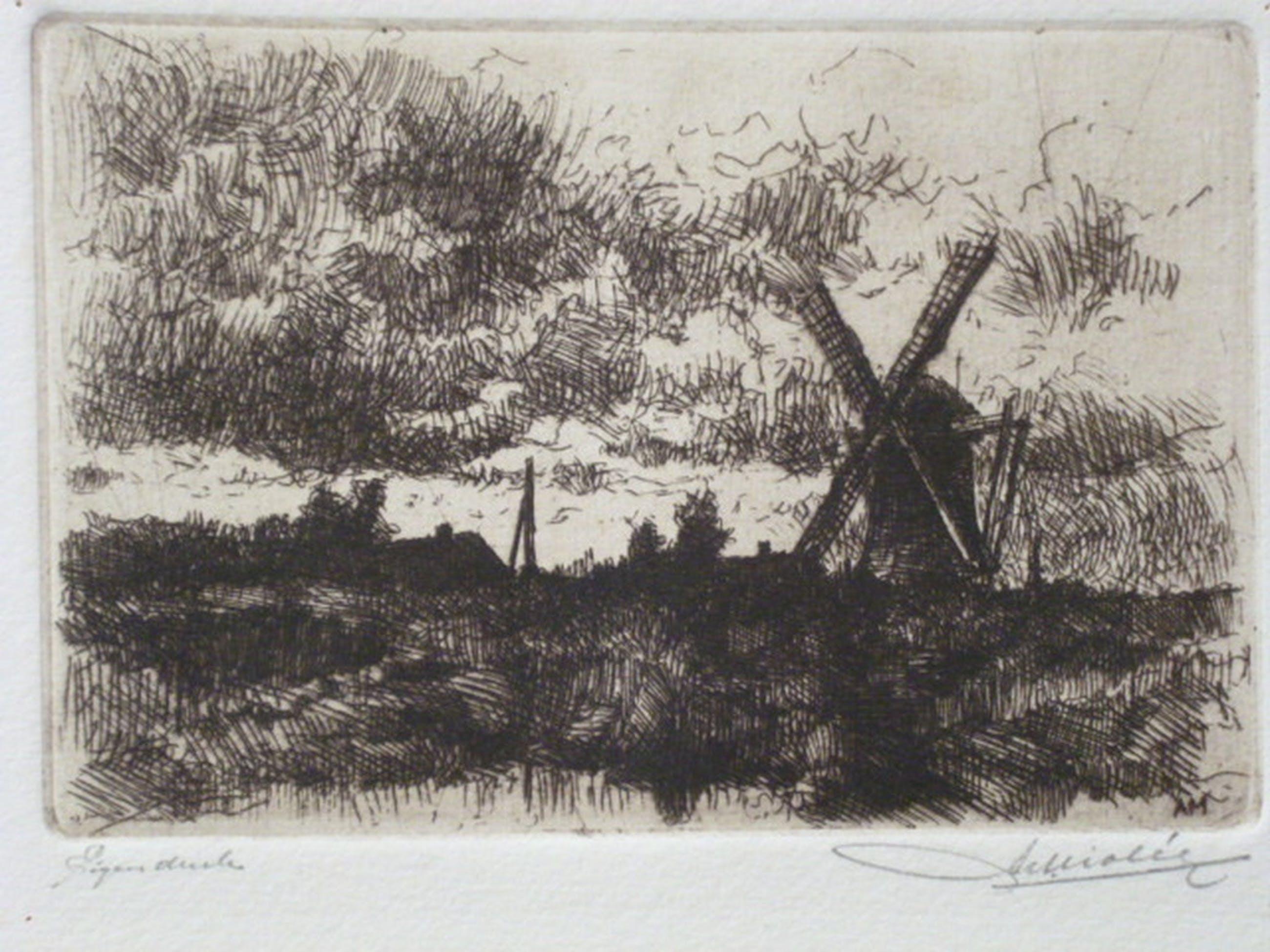 Adrianus Miolée - ets - Landschap met molen kopen? Bied vanaf 40!