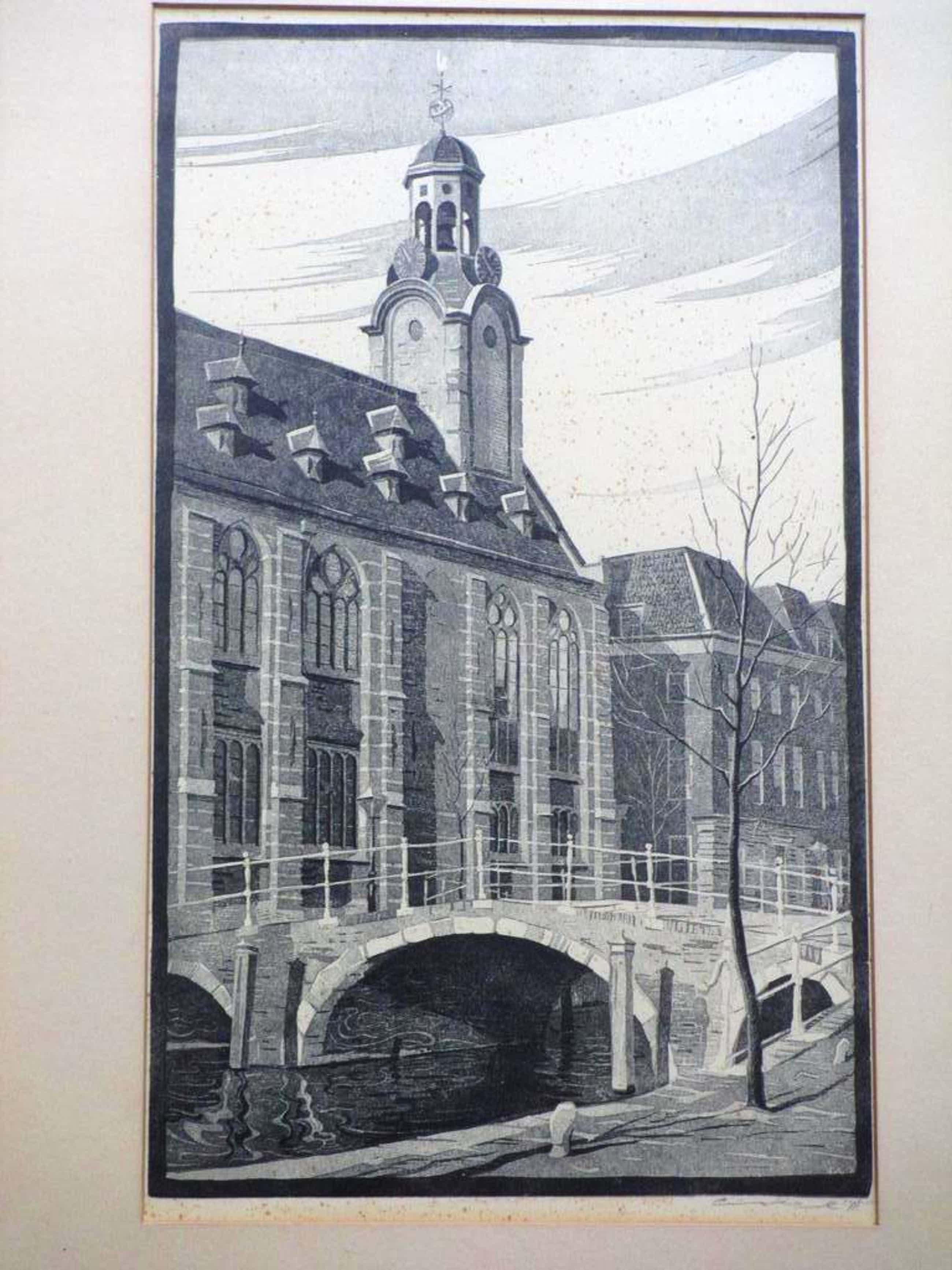 Cornelis van Oel, Houtsnede, Academiegebouw Rapenburg Leiden kopen? Bied vanaf 40!