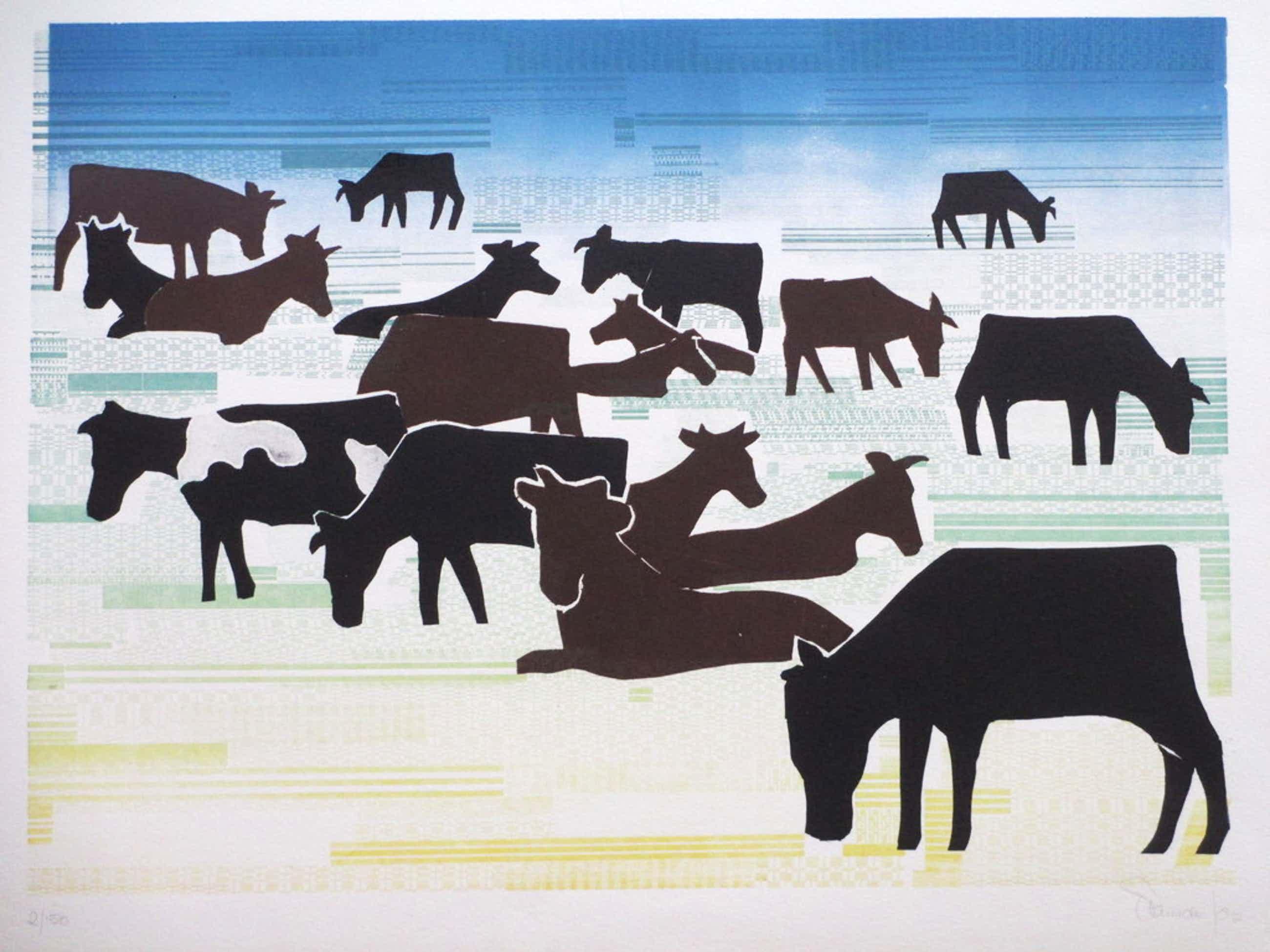 Frans de Jong, Koeien in landschap, Kleurenhoutsnede kopen? Bied vanaf 95!
