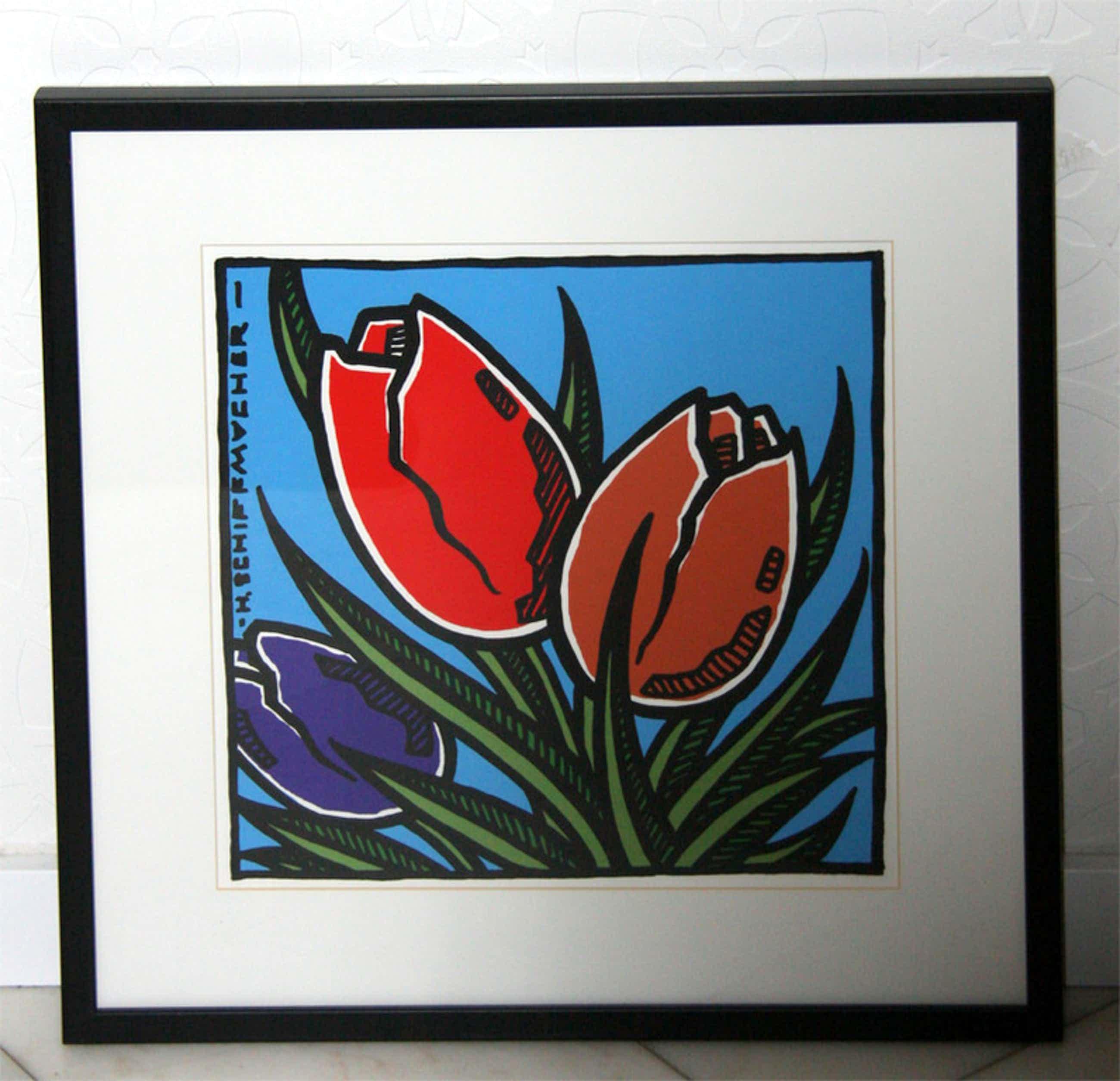 Henk Schiffmacher, zeefdruk, tulpen kopen? Bied vanaf 35!