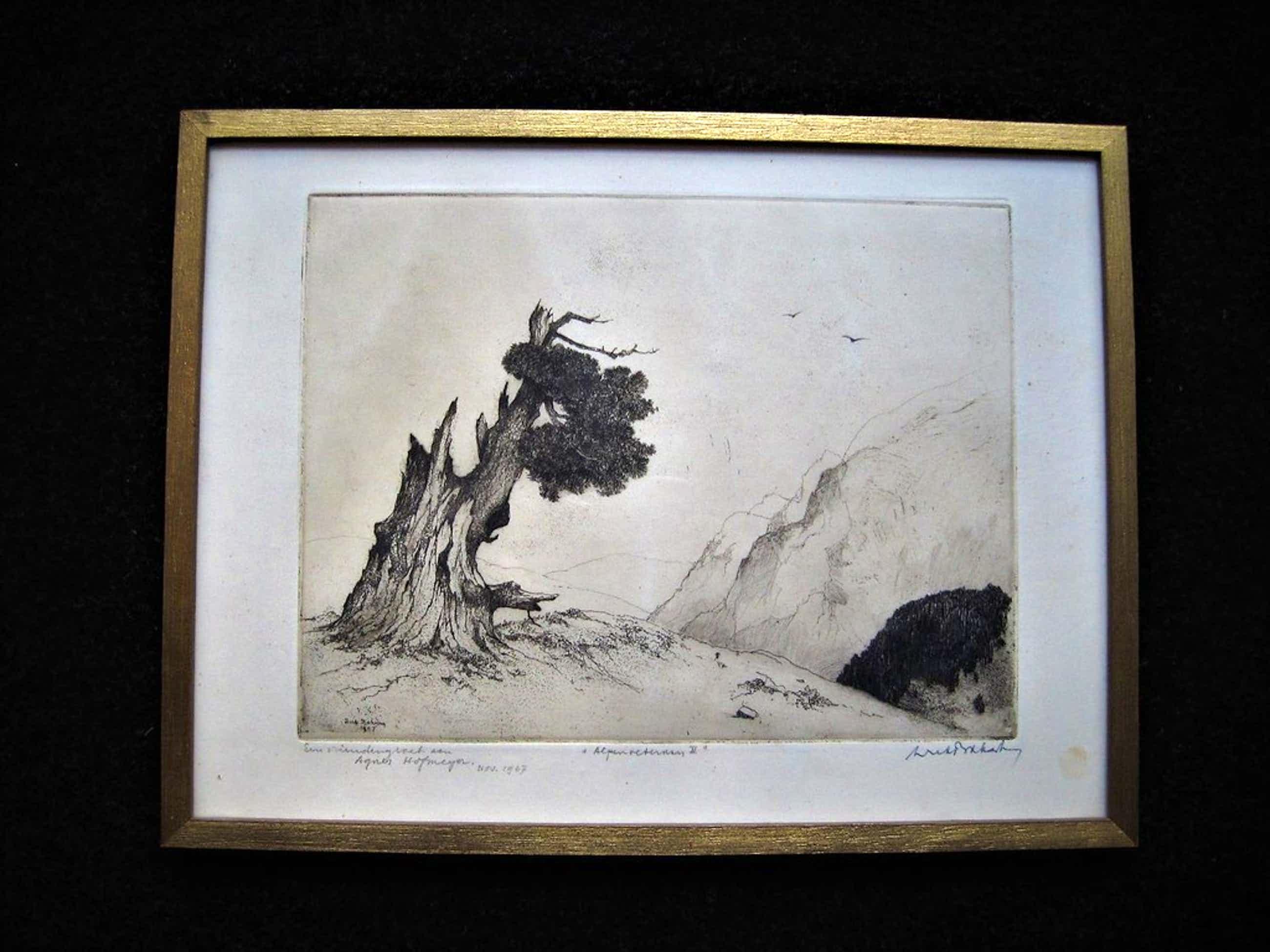 "Zeldzame ""Japanse periode"" Ets ""Alpen"" gesign. Dirk Baksteen 1886-1971   kopen? Bied vanaf 80!"