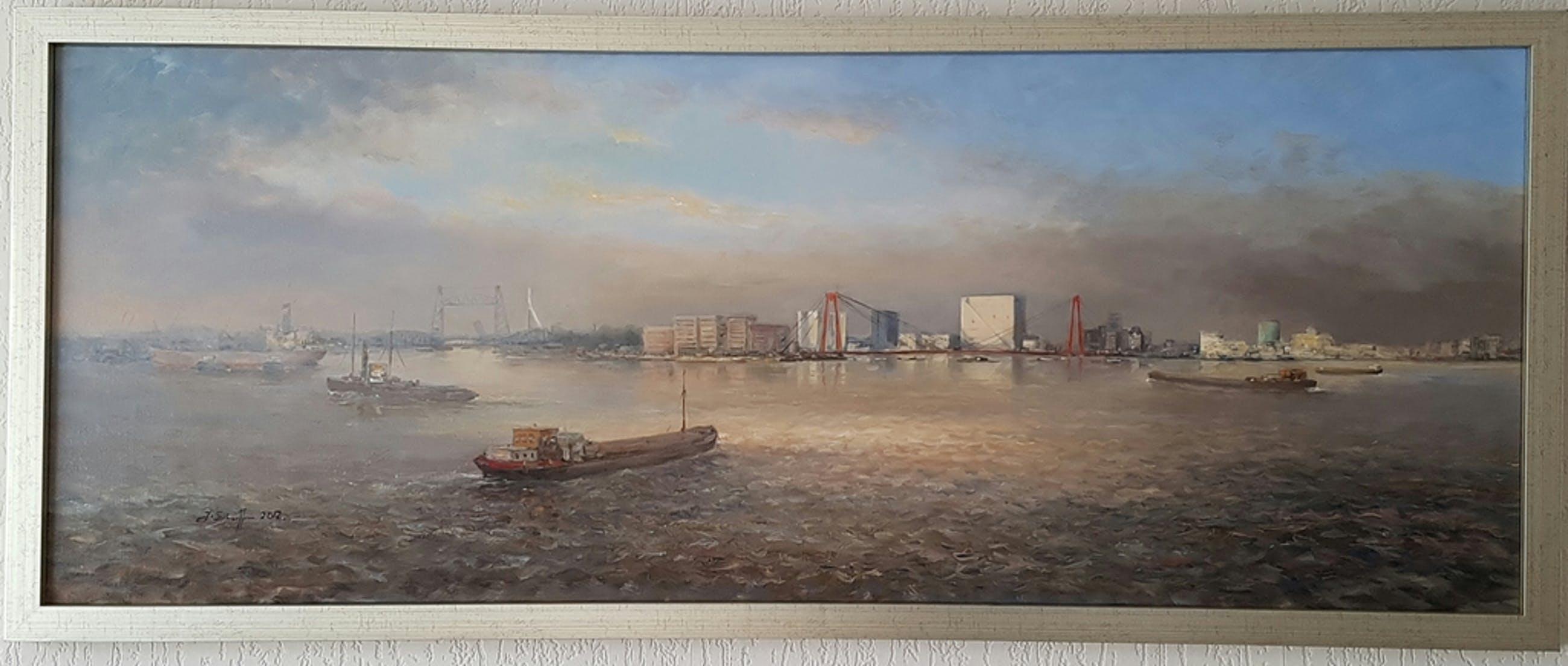 Zicht op Rotterdam met zijn bruggen over de Maas kopen? Bied vanaf 1199!
