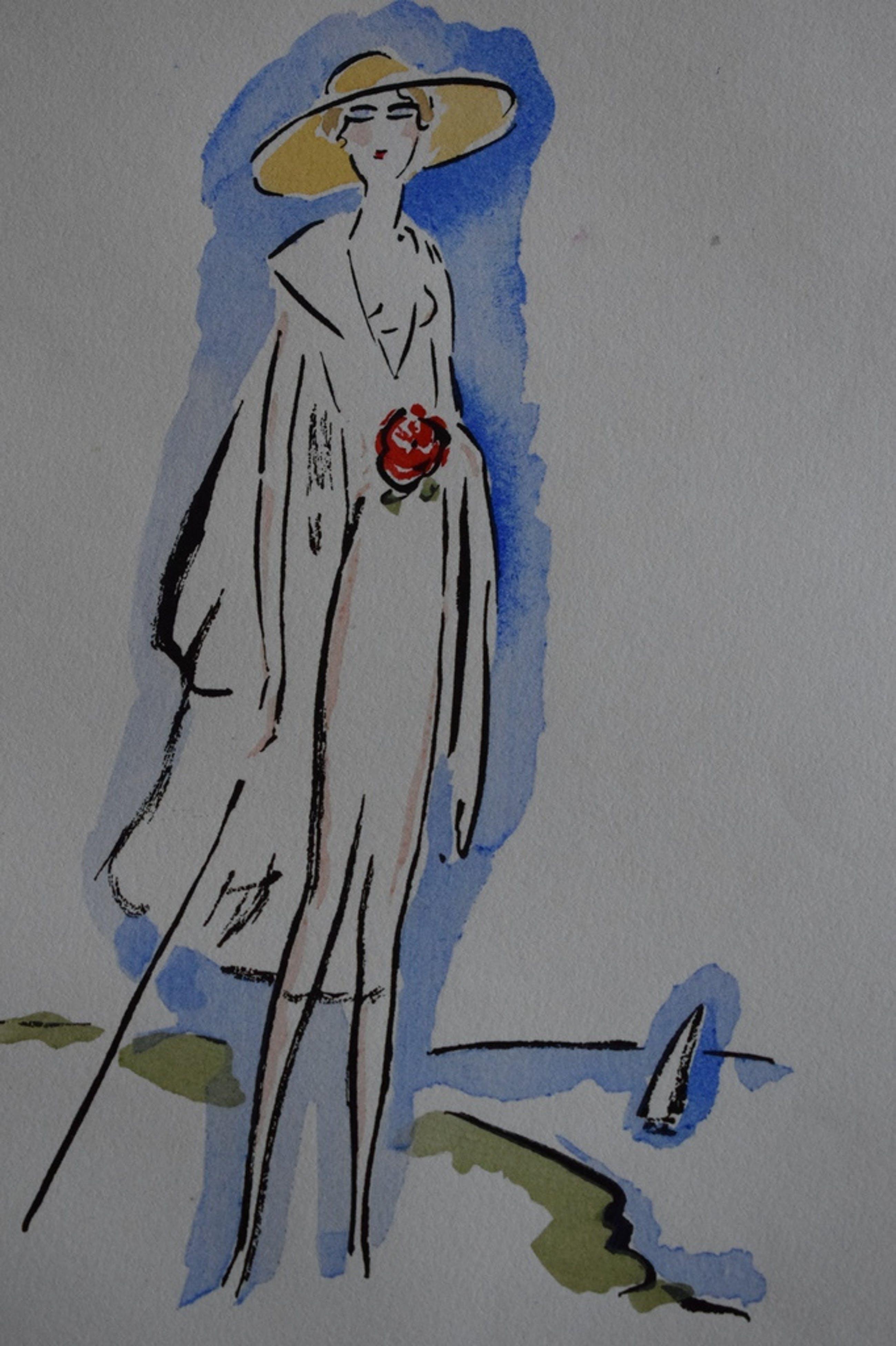 Kees van Dongen - Pochoir uit La Garconne - Elegante Dame met Wandelstok kopen? Bied vanaf 250!