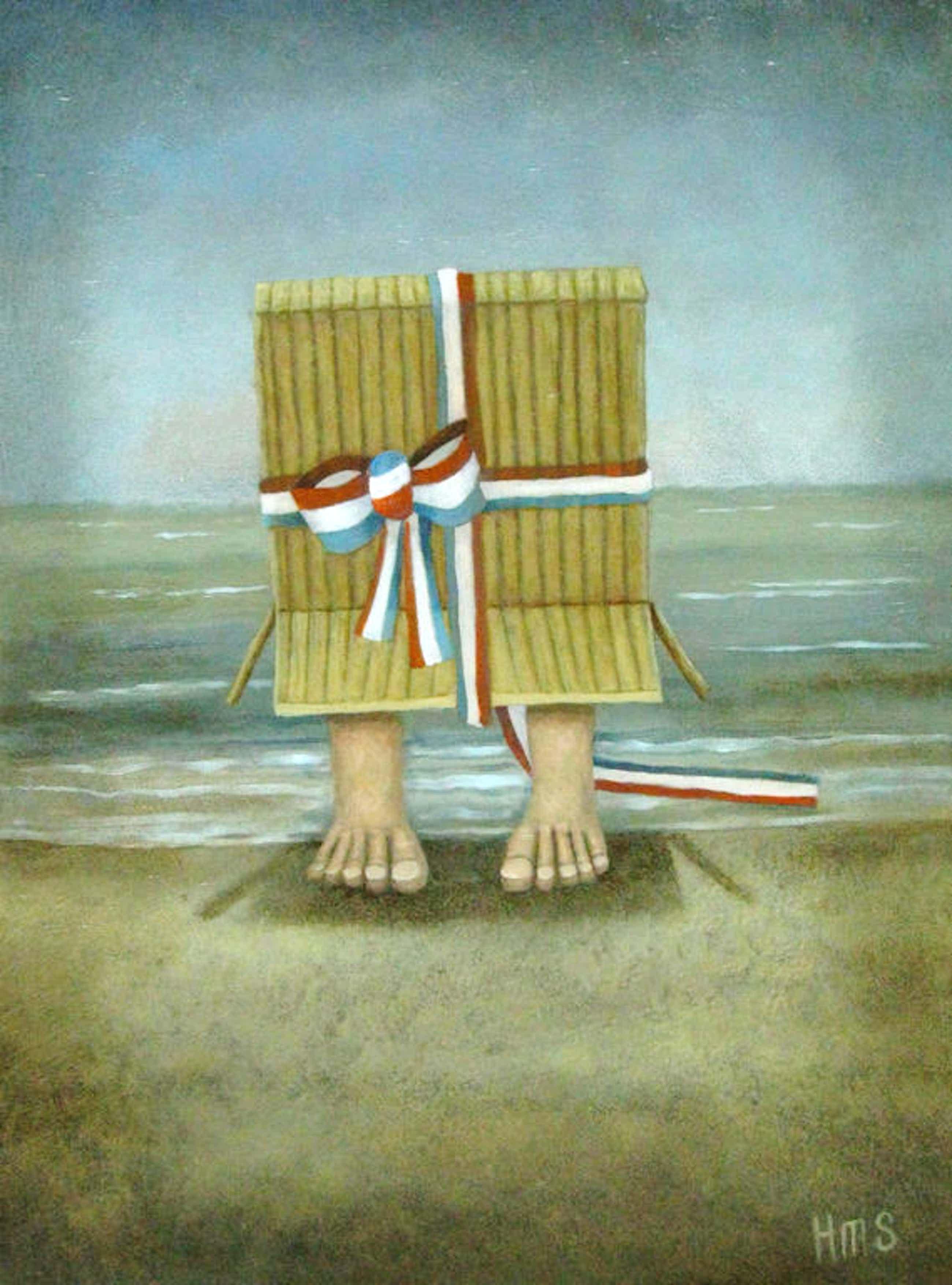 Schilder Hermanus, olieverf op paneel, 'dagje aan zee' kopen? Bied vanaf 250!