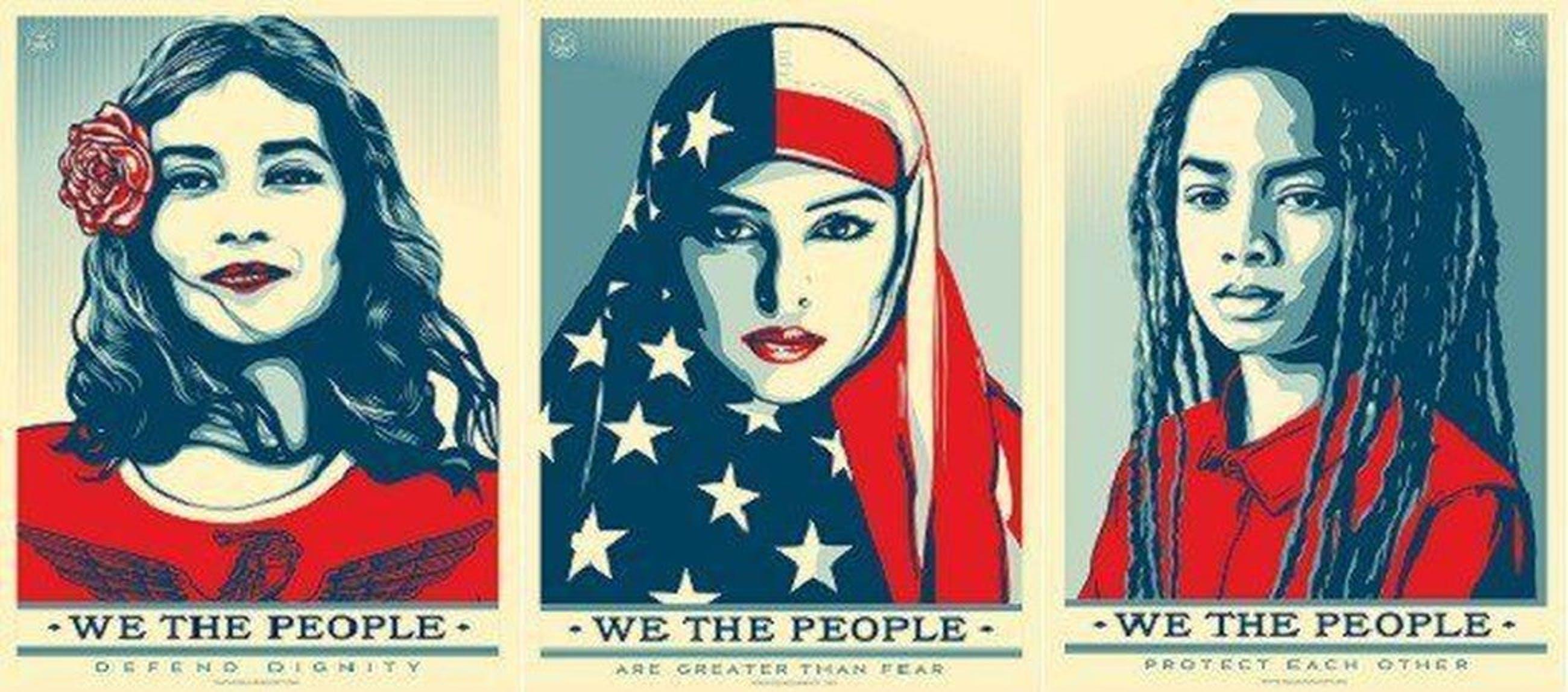 Shepard Fairey - Shepard Fairey (OBEY) - We The People - Drie grote offset prints kopen? Bied vanaf 100!