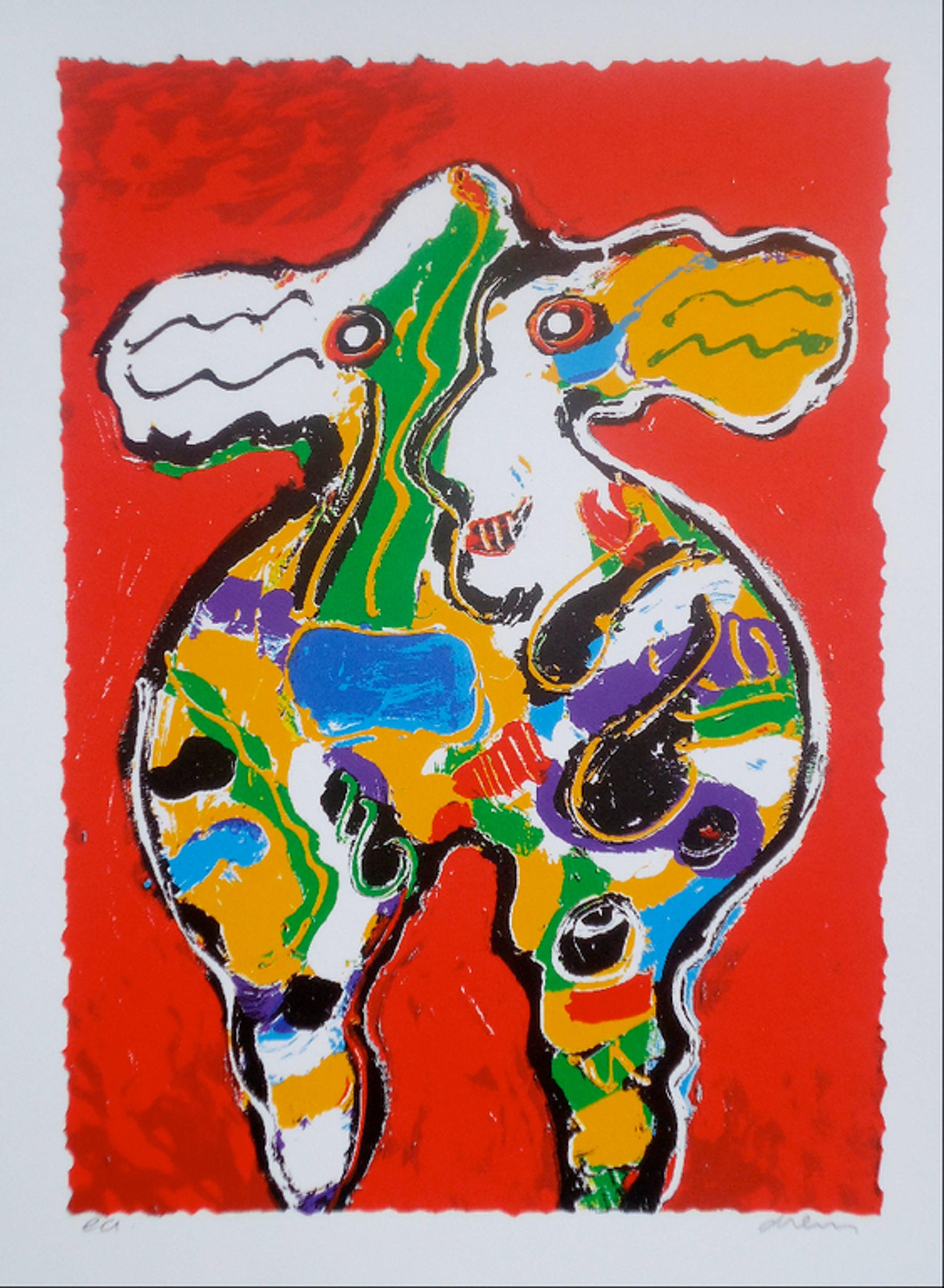 PETER DIEM, handgesigneerde zeefdruk 'Cow Red' kopen? Bied vanaf 1!