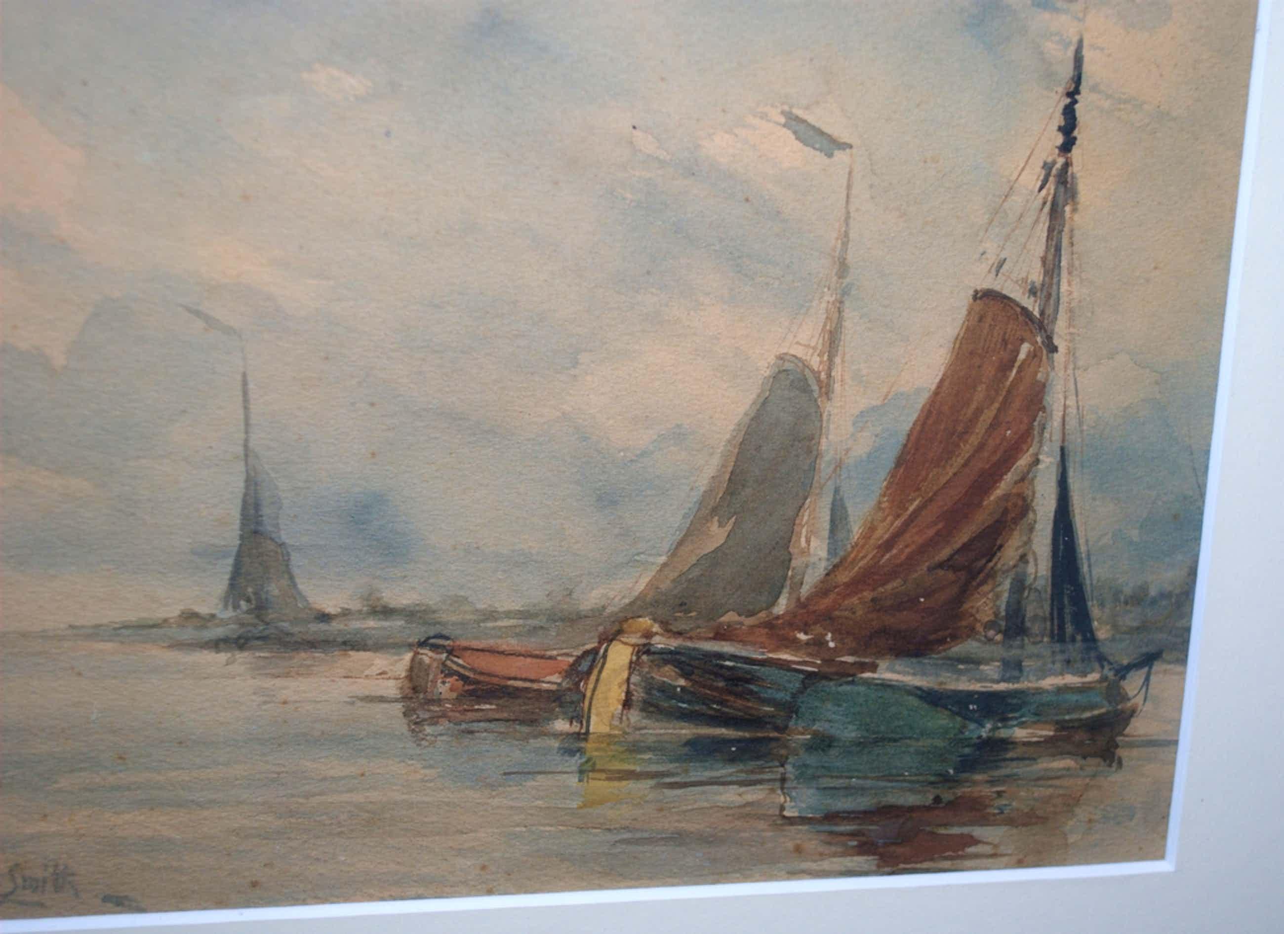 Hobbe Smith-afgemeerde zeilschepen -aquarel kopen? Bied vanaf 120!