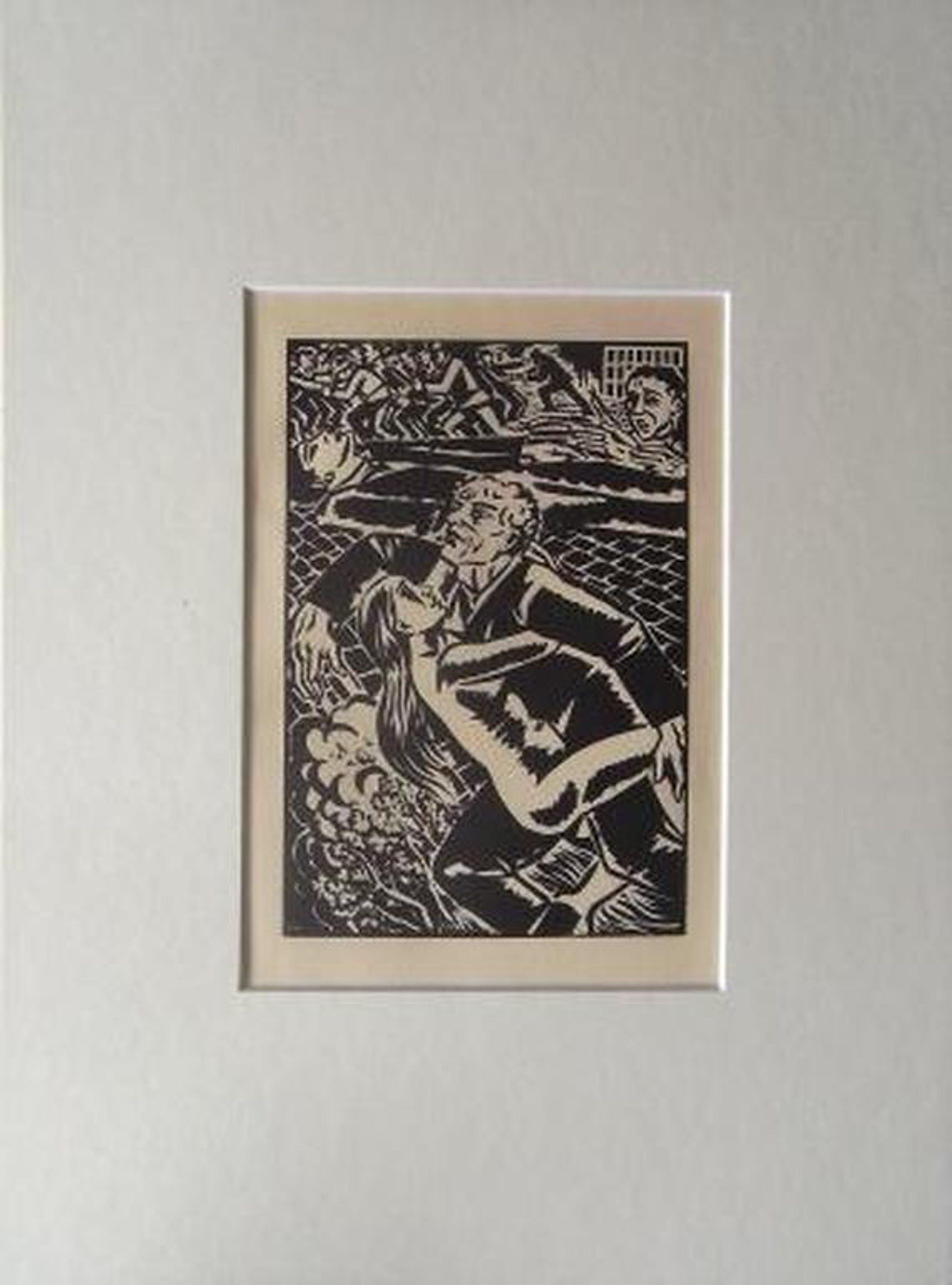 Frans Masereel: compositie 3  (houtsnede in passe-partout) kopen? Bied vanaf 1!