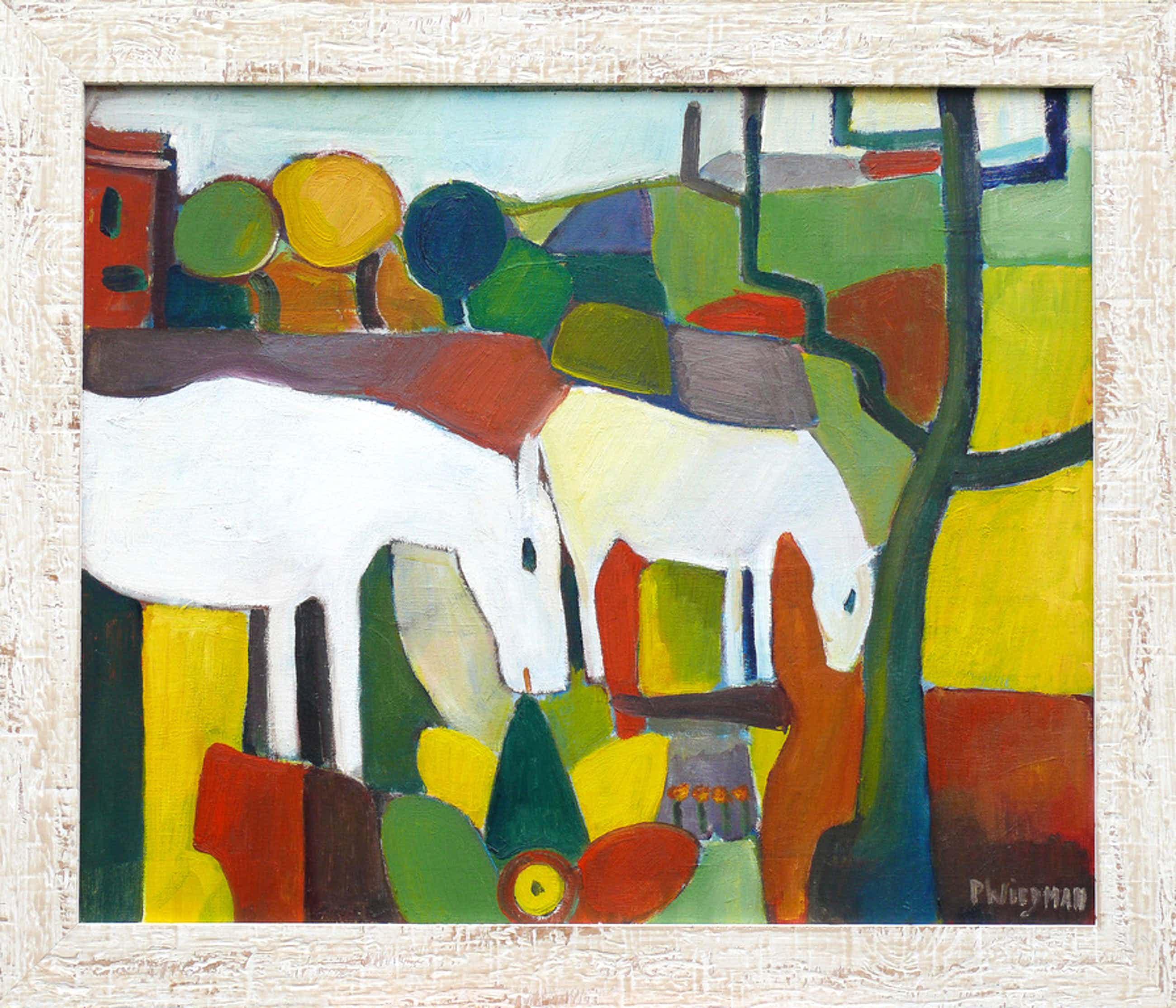 Piet Wiegman (ll): Olieverf, Twee paarden kopen? Bied vanaf 319!
