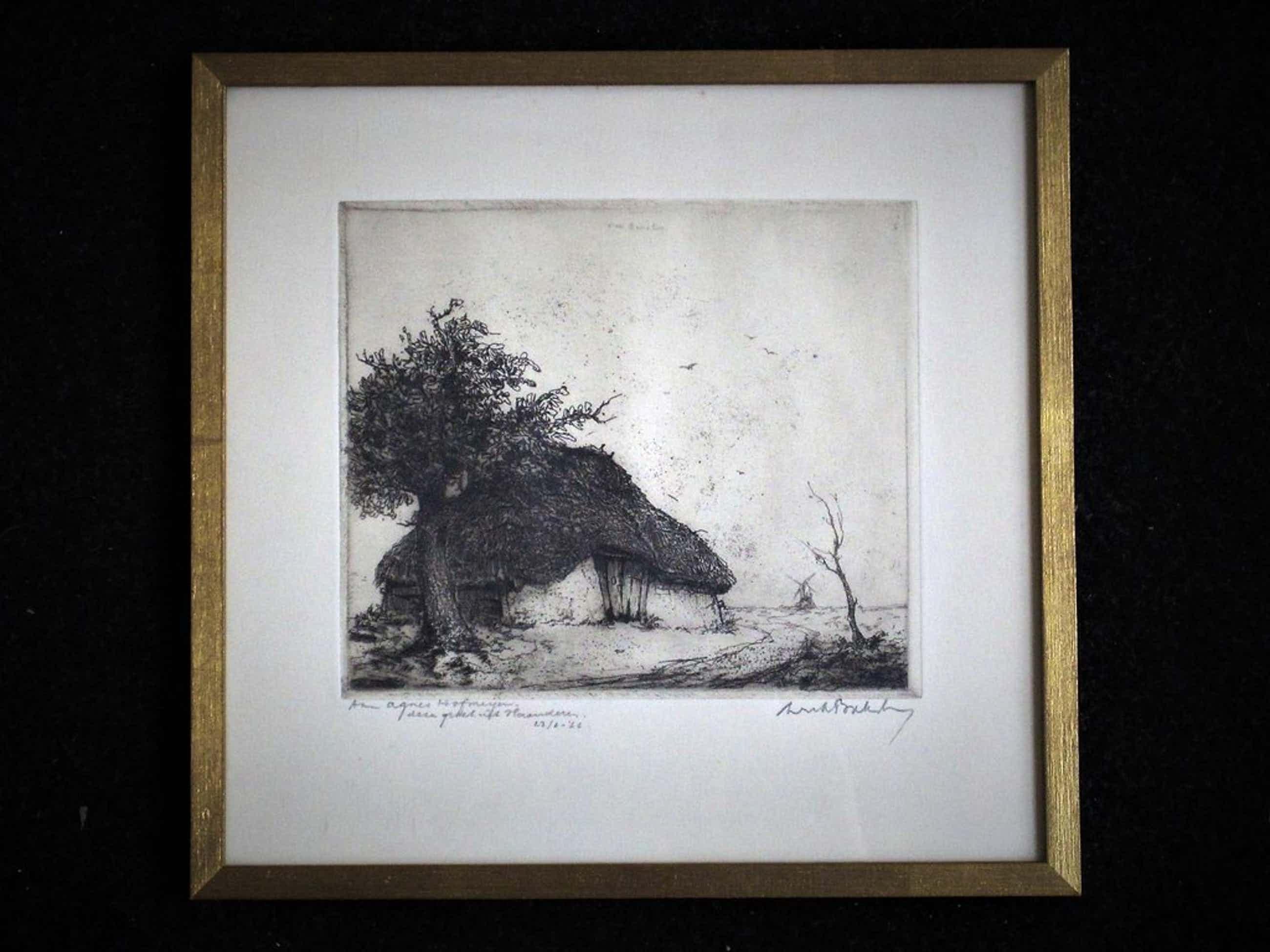 """Zeldzaam mooi werk van """"de Etser van de Kempen"""" Dirk Baksteen 1886-1971  kopen? Bied vanaf 70!"""