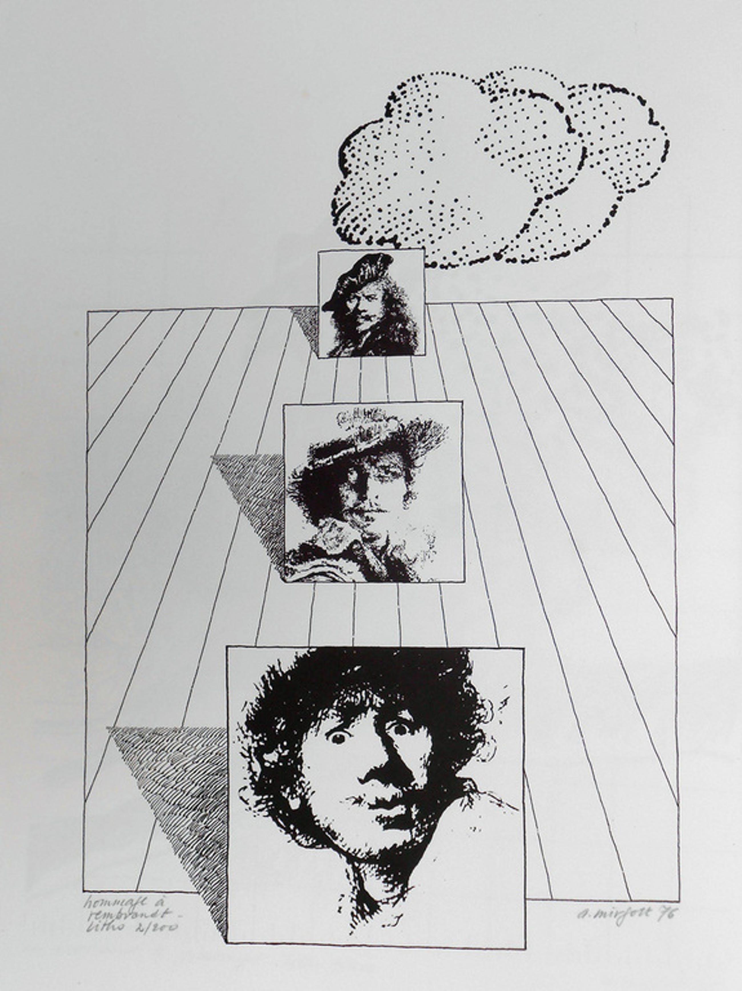 A.Mirfott, grafiek uit 1976, hommage a Rembrandt kopen? Bied vanaf 10!