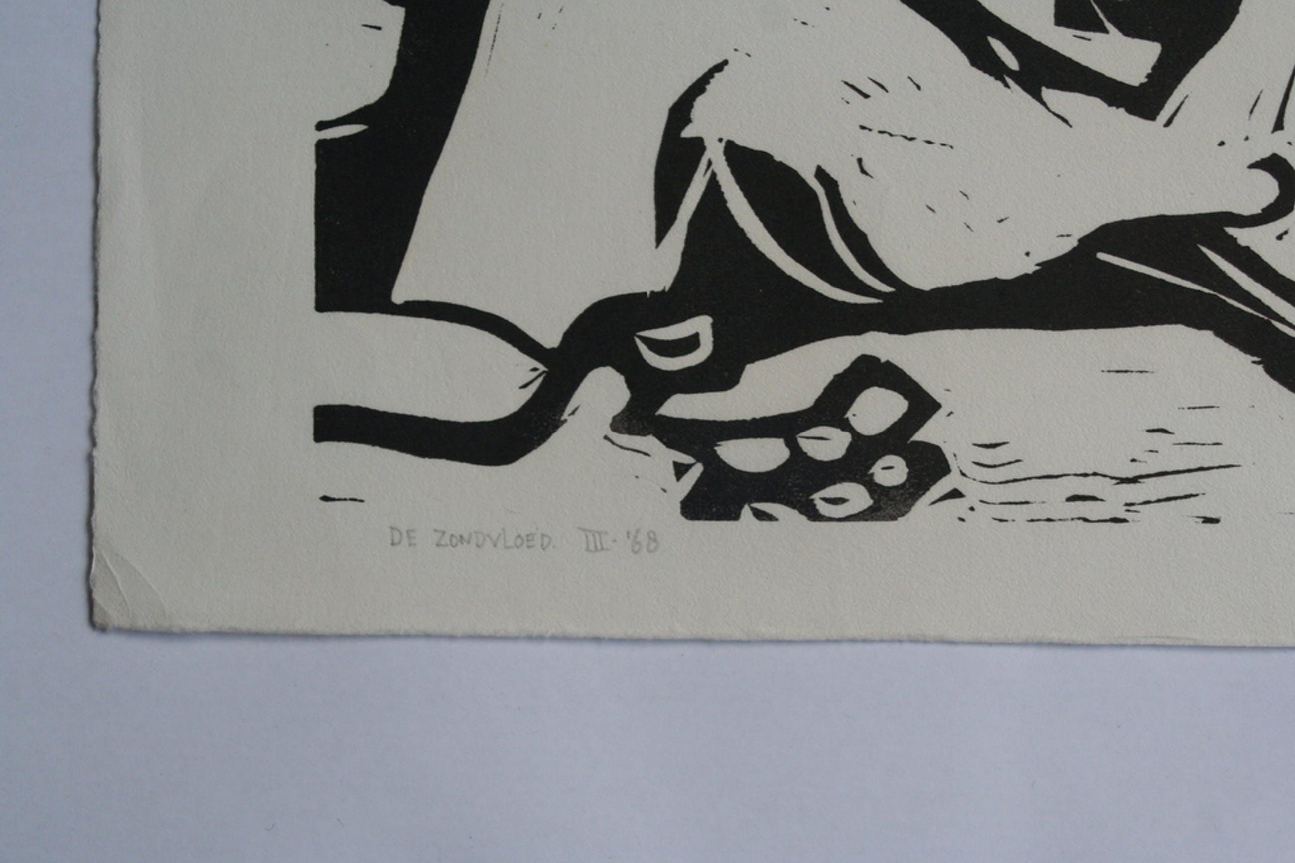 Karel Timmerman - linodruk - De Zondvloed - circa 1968 - gesigneerd kopen? Bied vanaf 1!