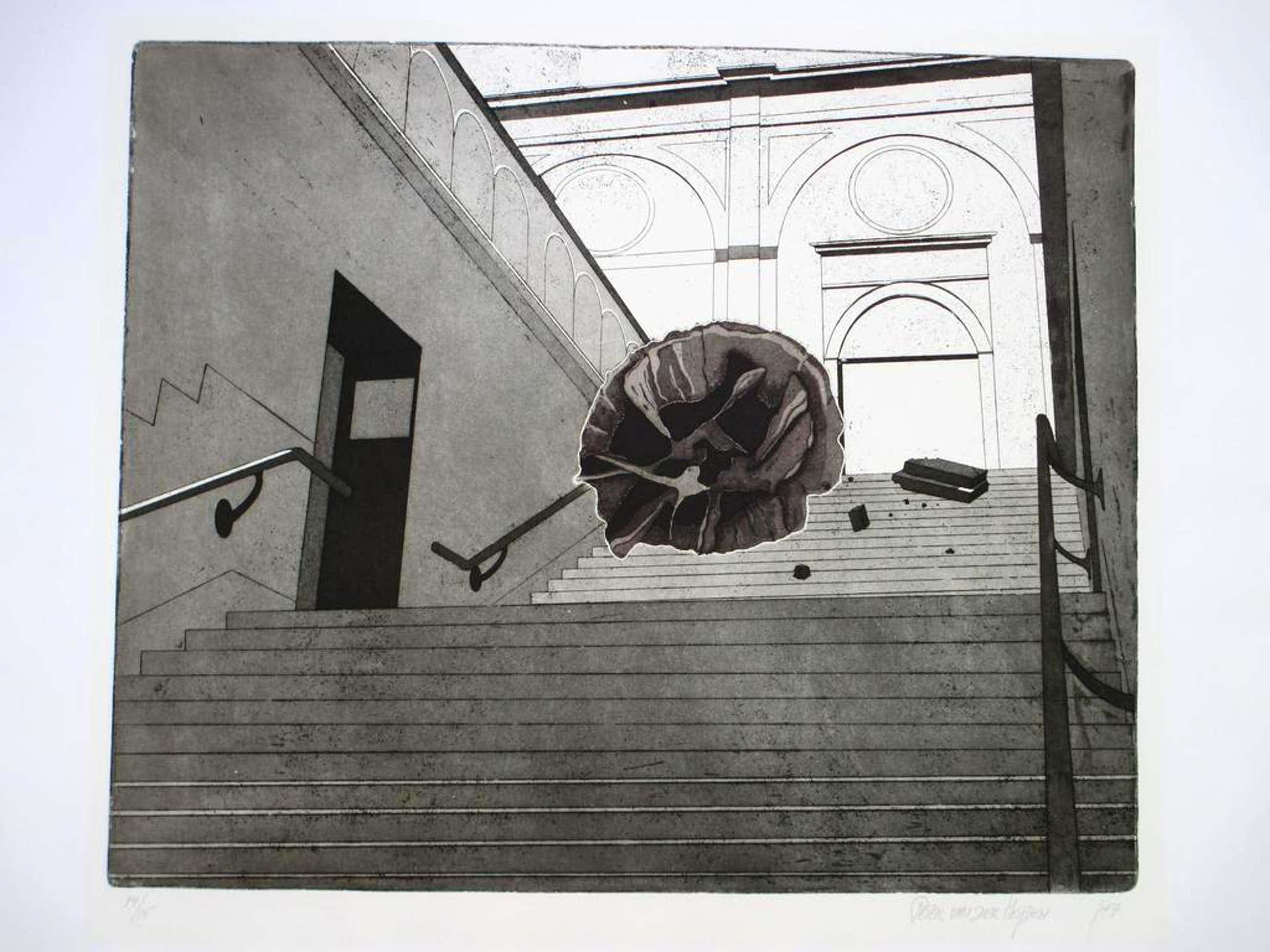 Peter van der Heijden, Trap Stedelijk Museum, Ets 1977 kopen? Bied vanaf 35!