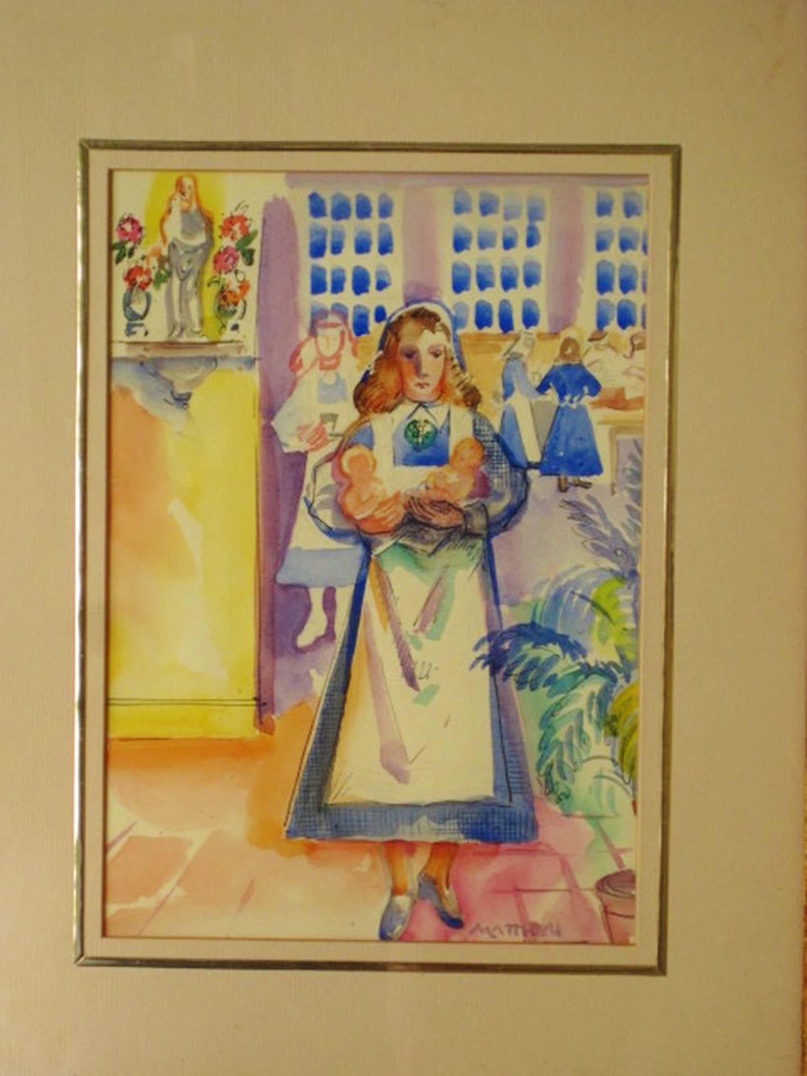 """Matthieu Wiegman 1886-1971 Bergense School 1940 aquarel """"Zusters van Maria"""" ges. kopen? Bied vanaf 160!"""