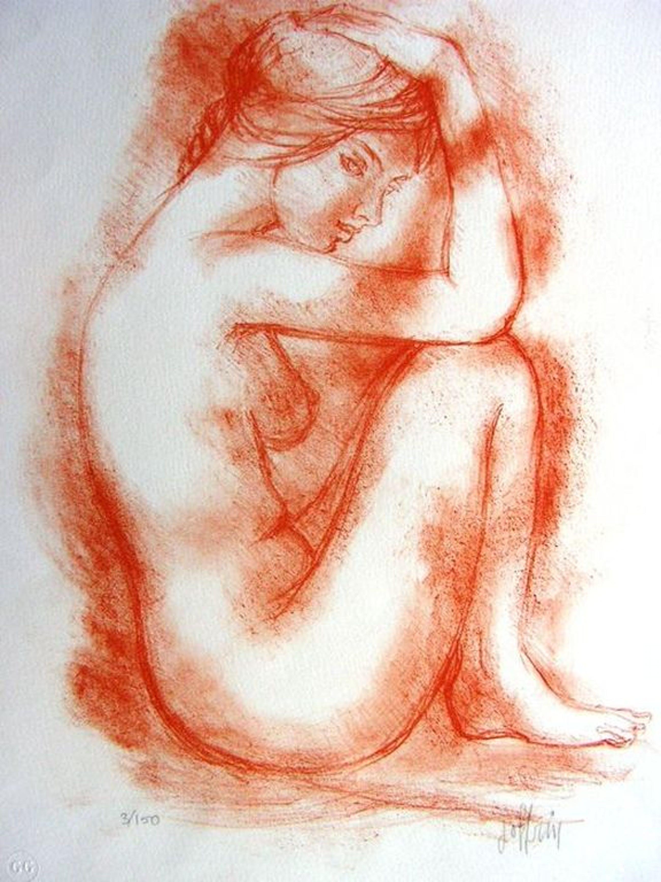 Guily Joffrin (1909 - 2006) Zittend naakt - kleurenlitho, gesigneerd, oplage 150 kopen? Bied vanaf 45!