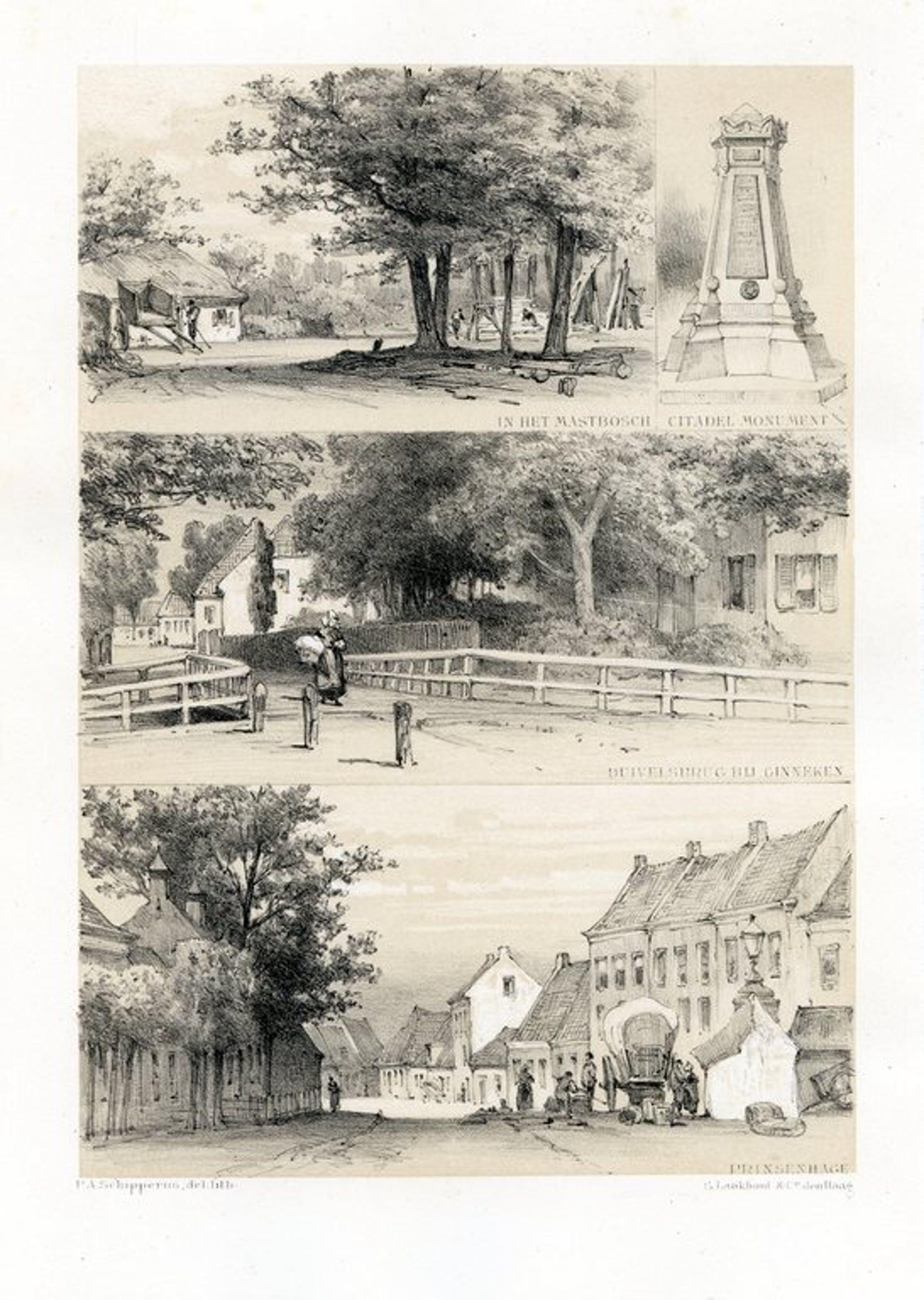 P.A. Schipperus 1880 - Litho Mastbosch - Ginneken en Prinsenhage - Litho kopen? Bied vanaf 35!