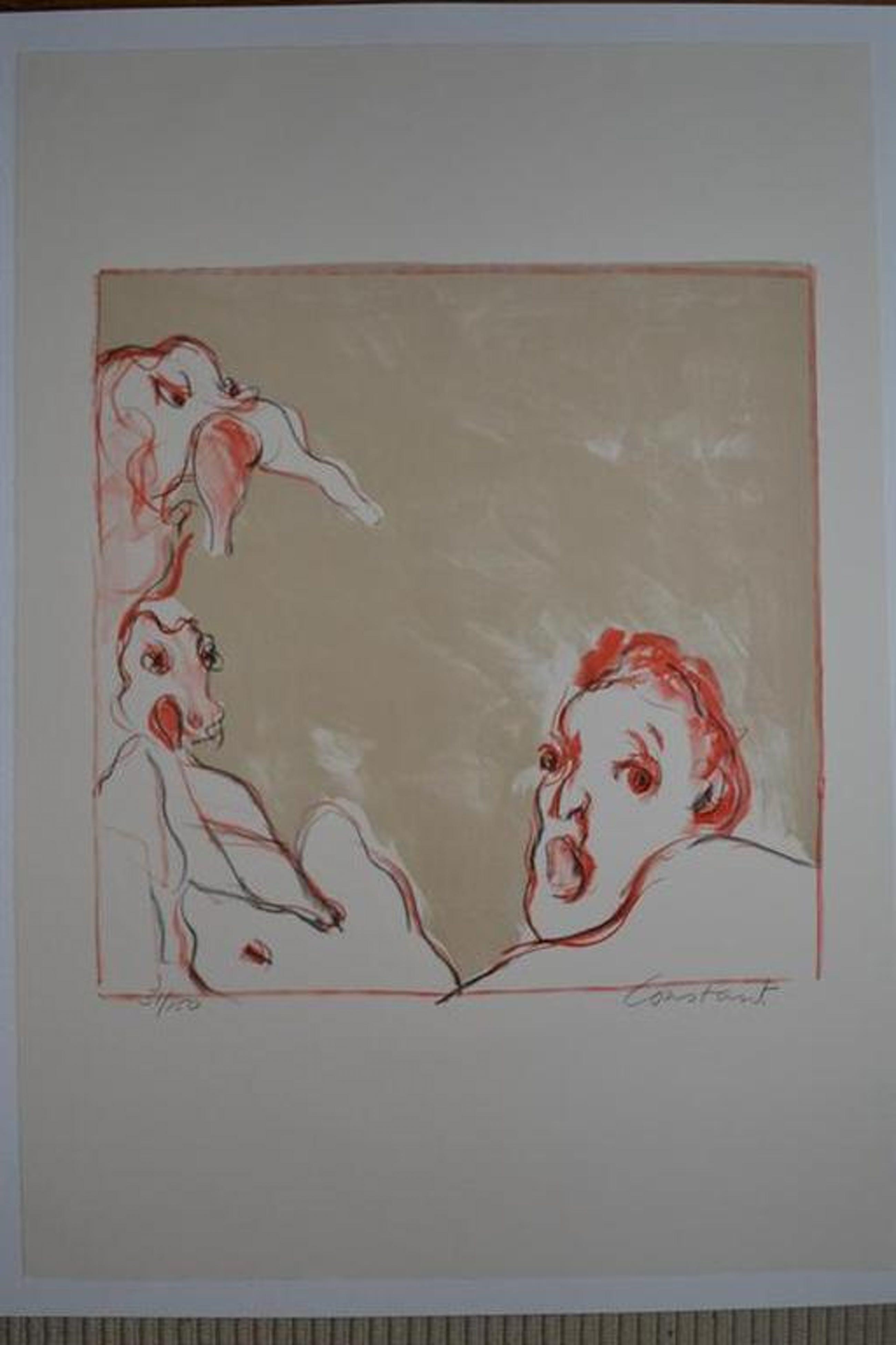 Constant :  'Le Cauchemar' - kleurenlitho, 1988, gesigneerd, oplage 150 kopen? Bied vanaf 850!