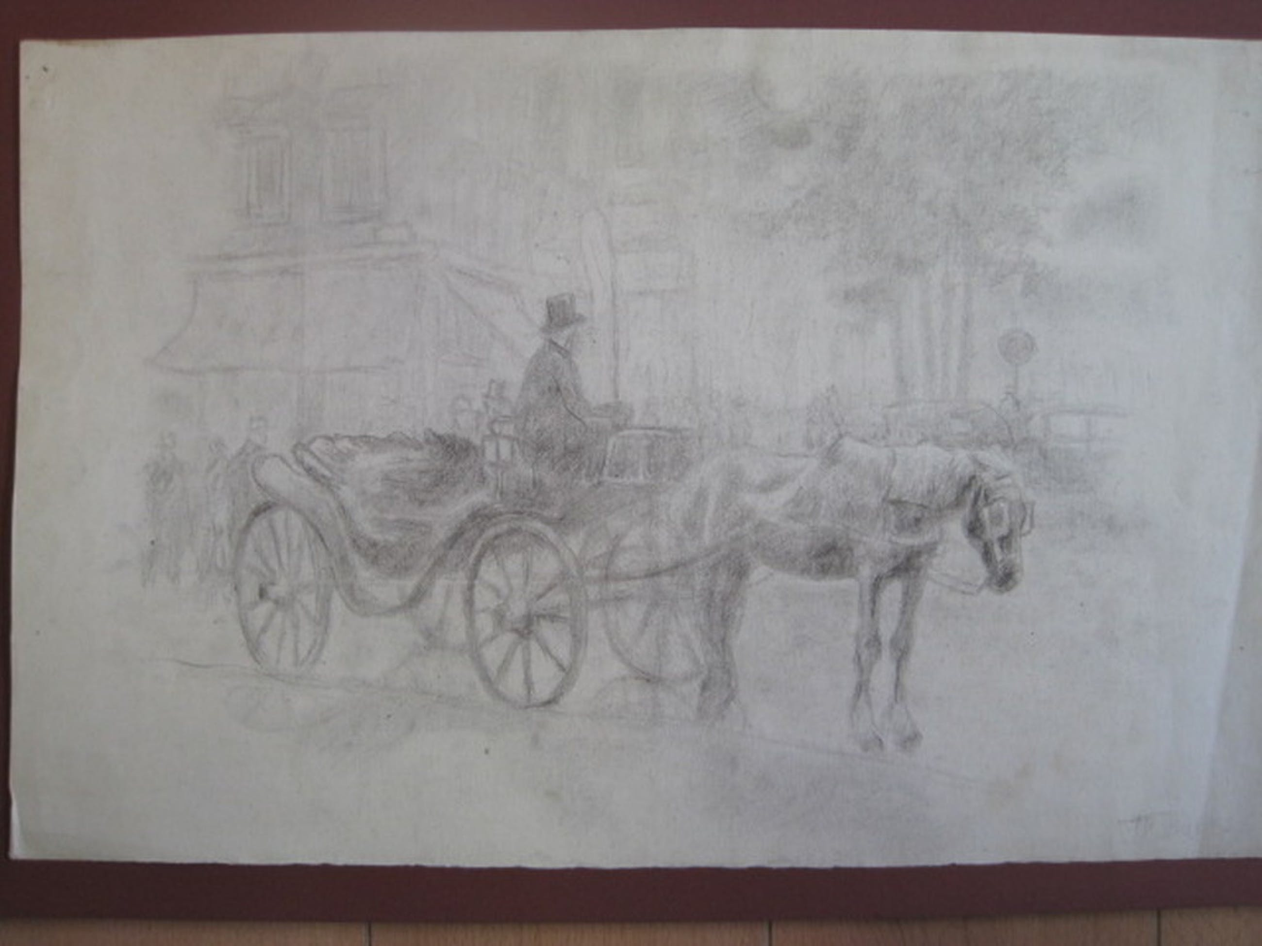 Frans Boers 1914-1987 tekening Amsterdam koets Raadhuisstraat ca1950 kopen? Bied vanaf 1!