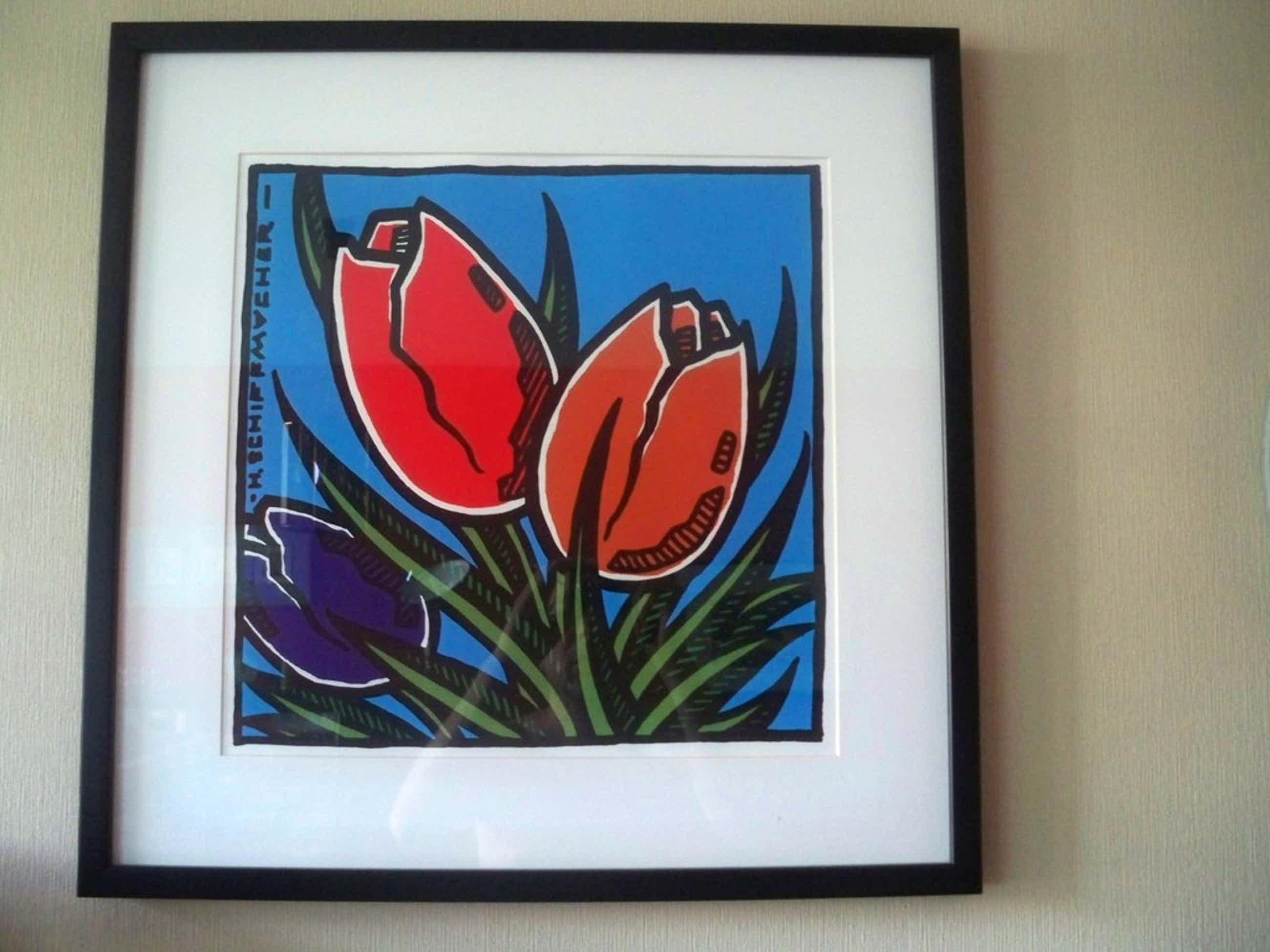 Henk Schiffmacher - zeefdruk Tulpen - 2000 - gesigneerd kopen? Bied vanaf 80!