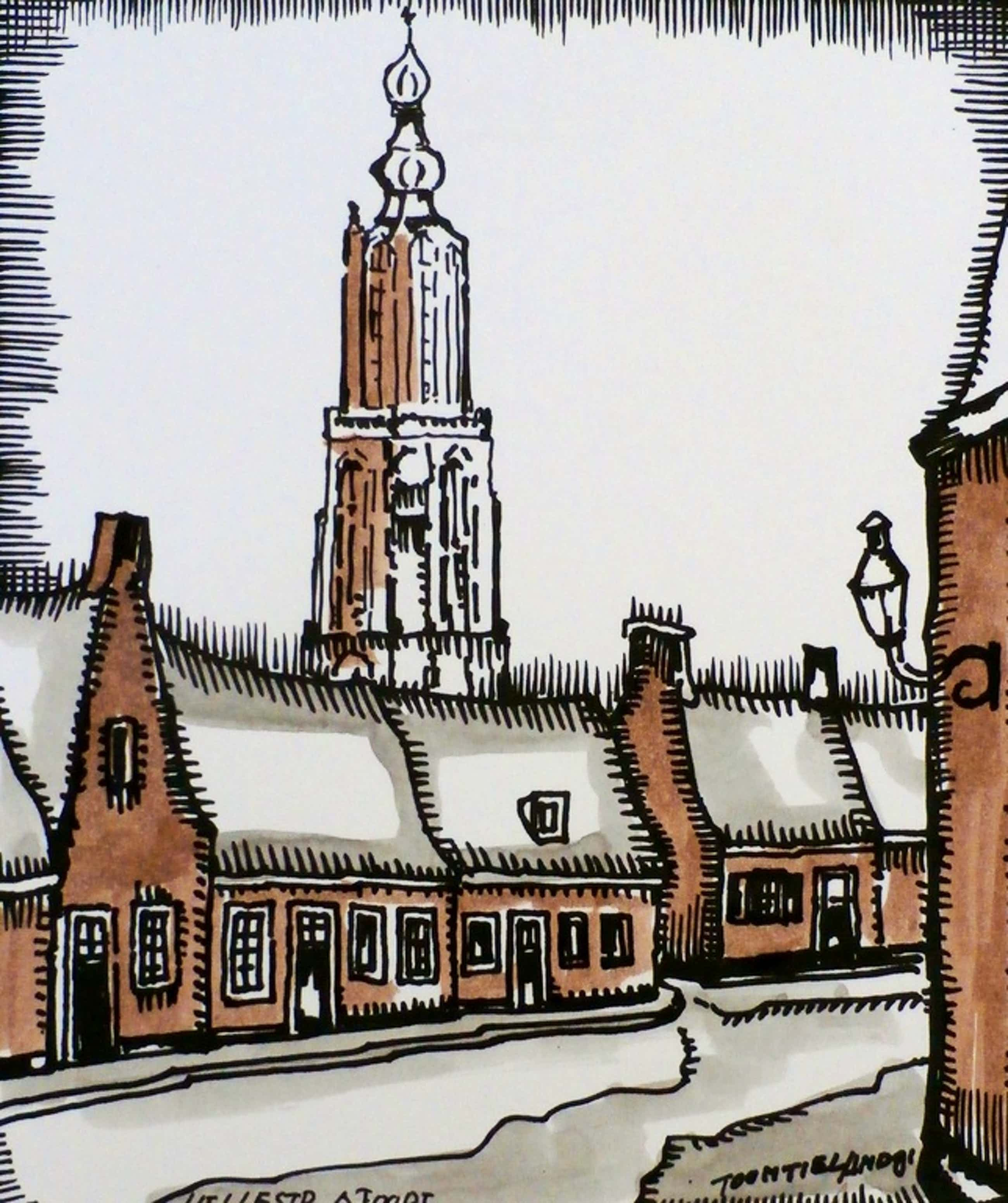 Toon Tieland - handingekleurde litho: Hellestraat Amersfoort kopen? Bied vanaf 75!