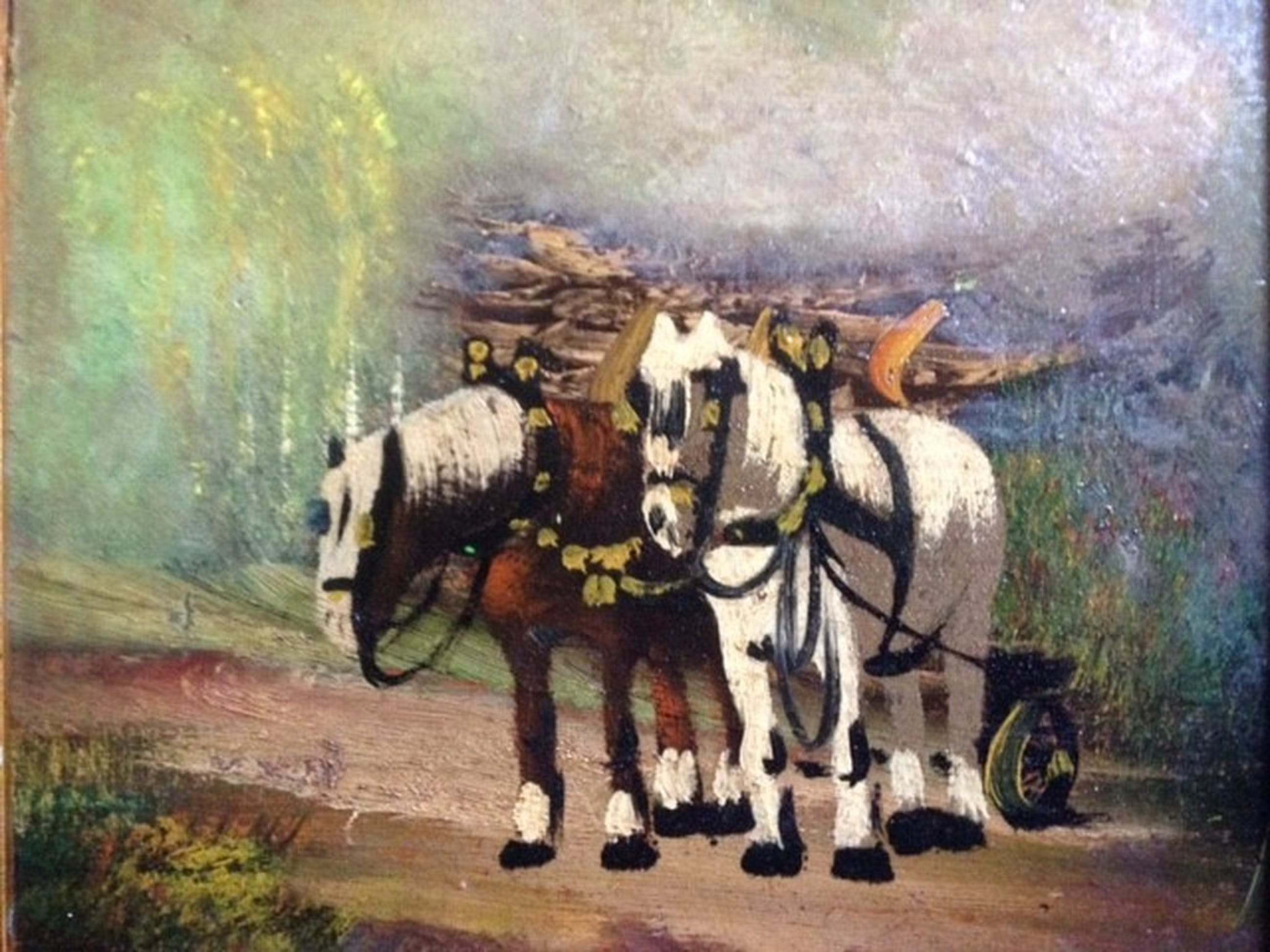 Chris de Bruijn (1901-1974), olieverf op paneel, 2 Belgische trekpaarden  kopen? Bied vanaf 35!
