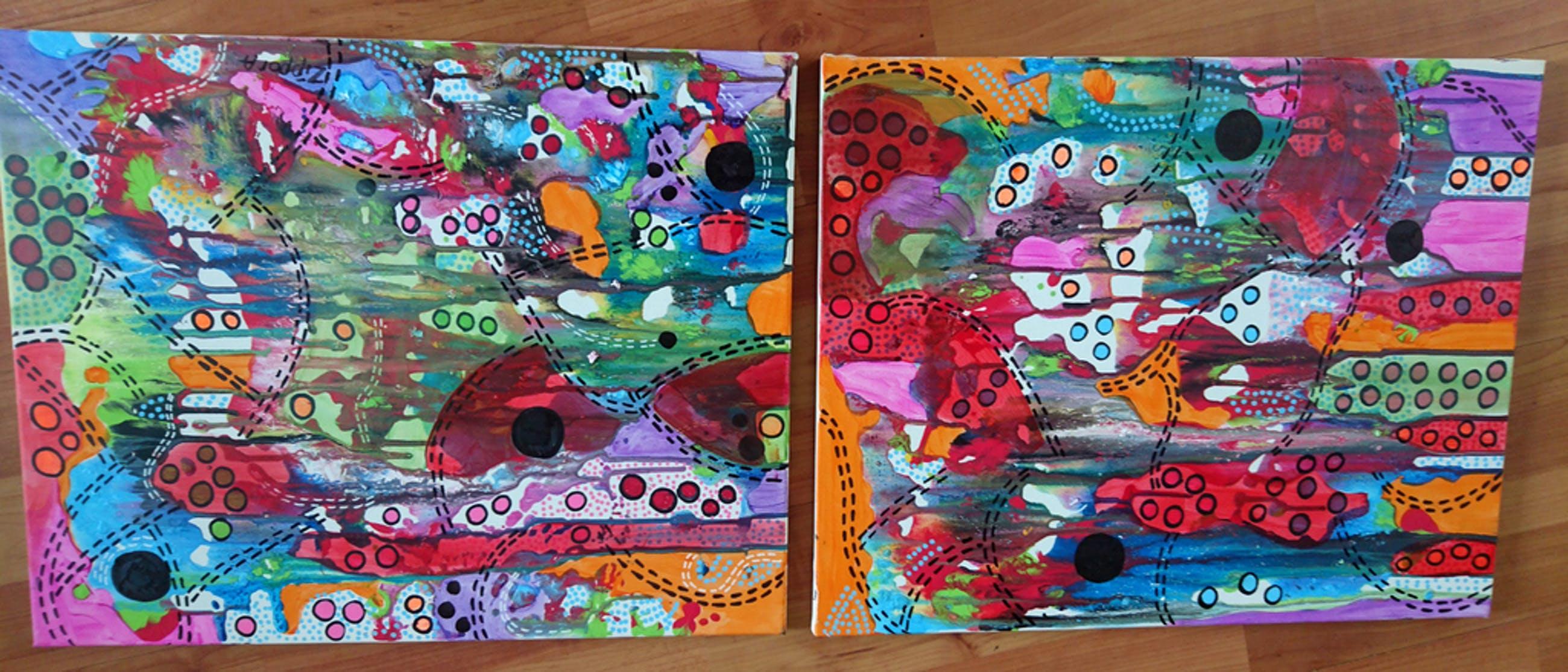 Zippora Meijer  Turn From Negative To Positive  Acryl op canvas 2x 40x50 cm kopen? Bied vanaf 1!
