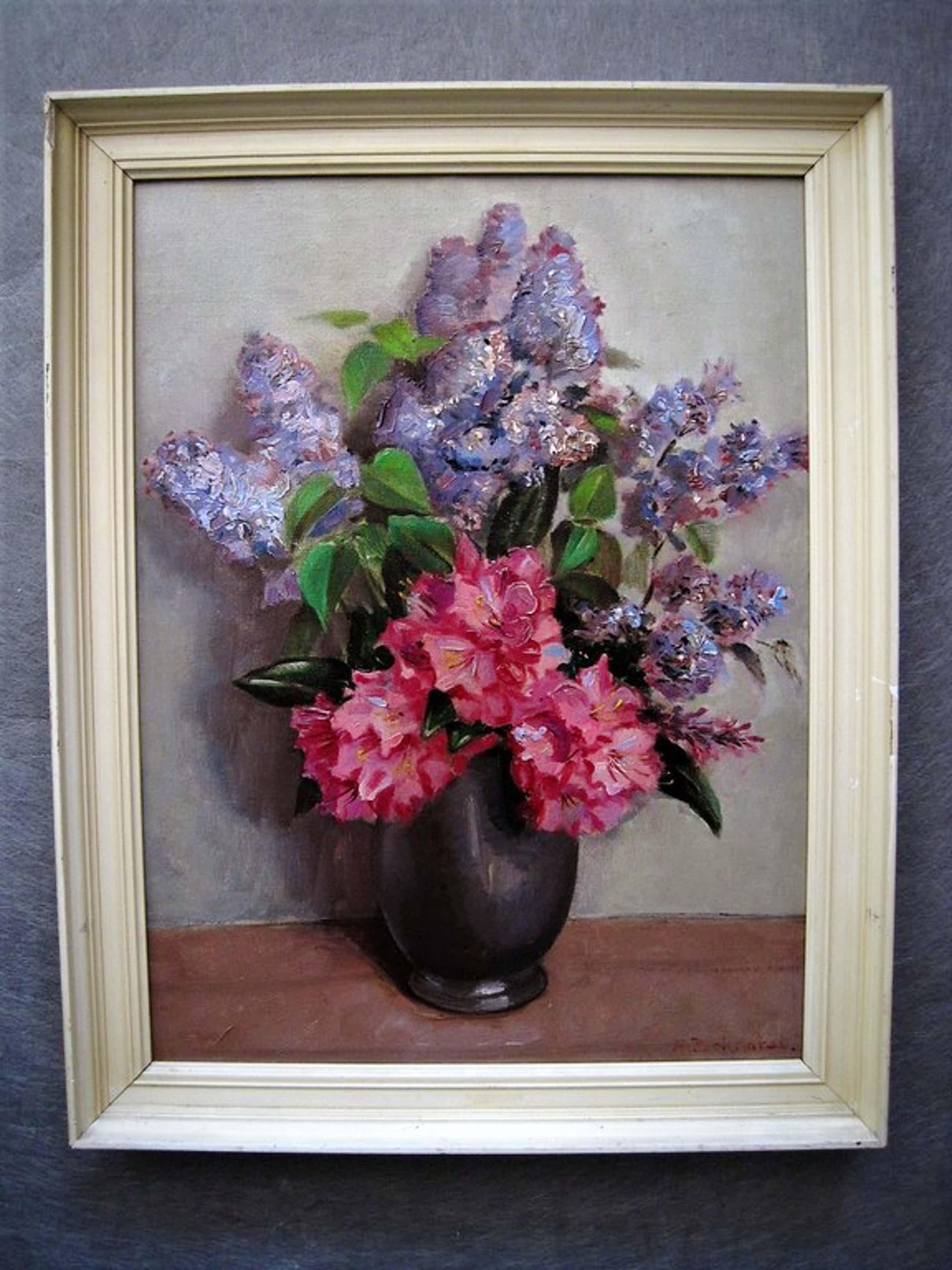 """Schitterend ca. 1940 olieverf """"Azalea Lavendel in tinnen kan"""" gesigneerd  kopen? Bied vanaf 50!"""