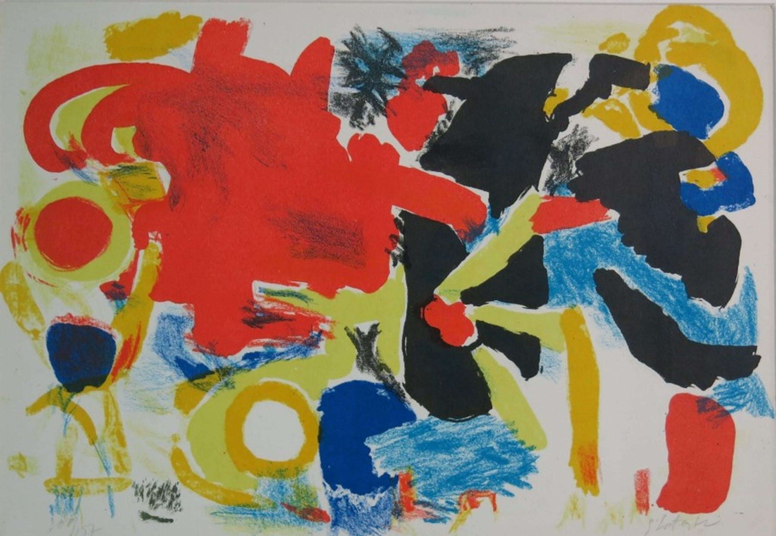 Ger Lataster: Litho, abstracte compositie kopen? Bied vanaf 80!