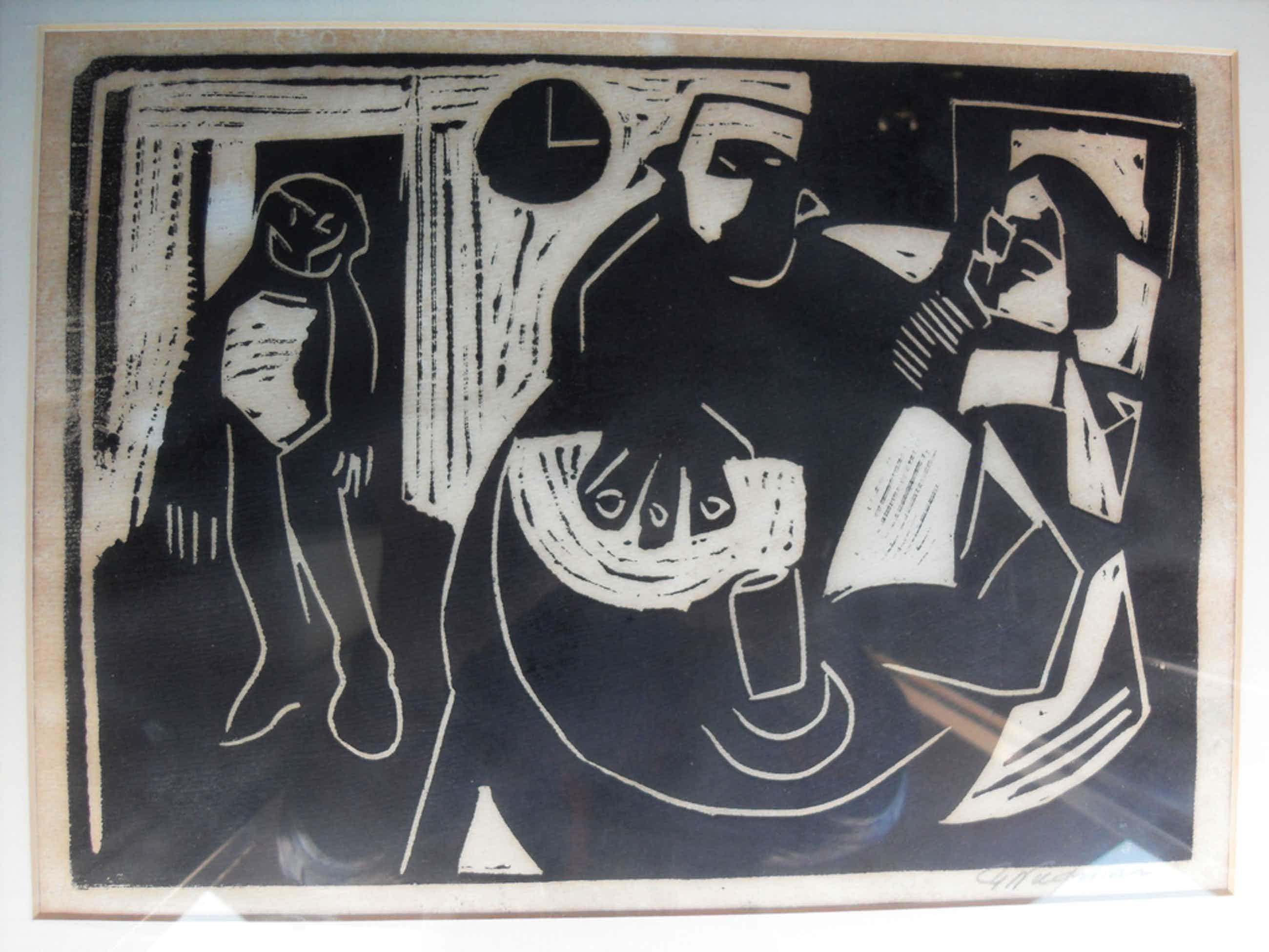 Piet Wiegman Linosnede figuren 35 x 45cm mooi gelijst en gesigneerd kopen? Bied vanaf 50!