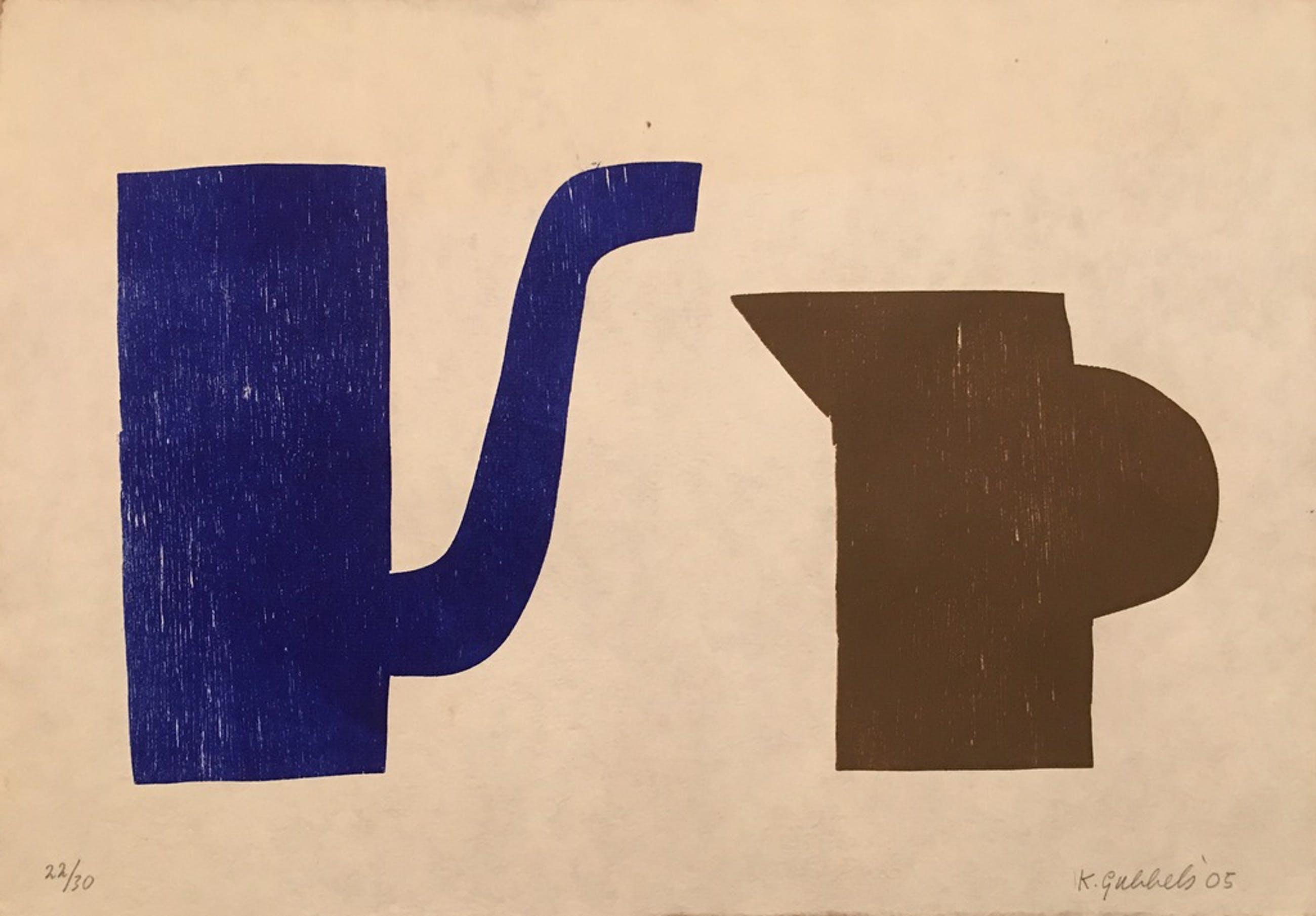 Klaas Gubbels - Blauw en bruin kannetje - afm. 50x35cm kopen? Bied vanaf 450!