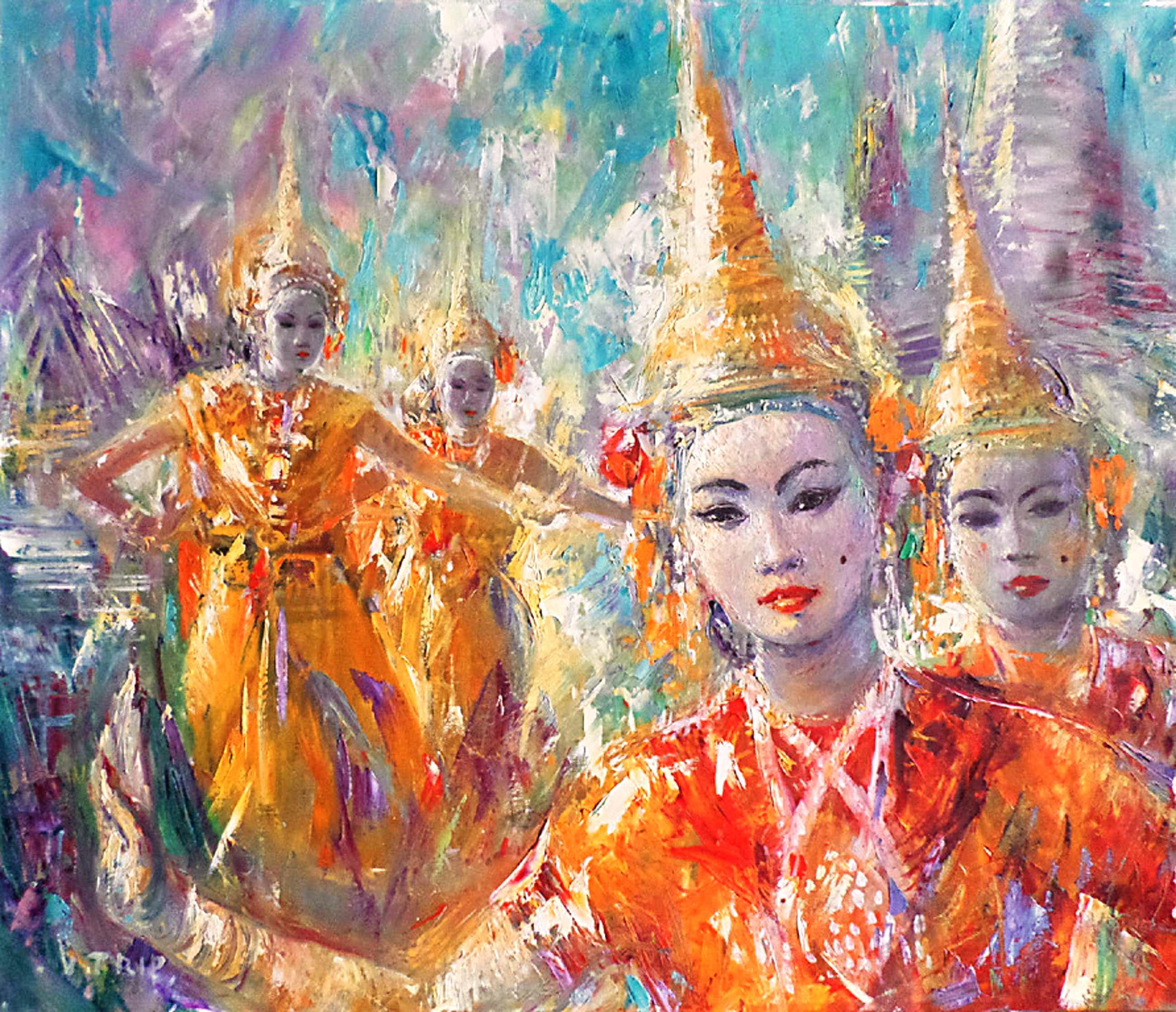 Victor Trip - Thaise danseressen, verf op doek kopen? Bied vanaf 170!