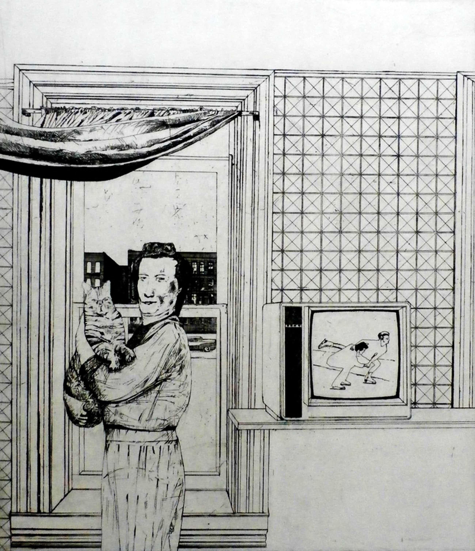 Kees Spermon - Kees Spermon - ets: vrouw met kat - 1974 kopen? Bied vanaf 45!