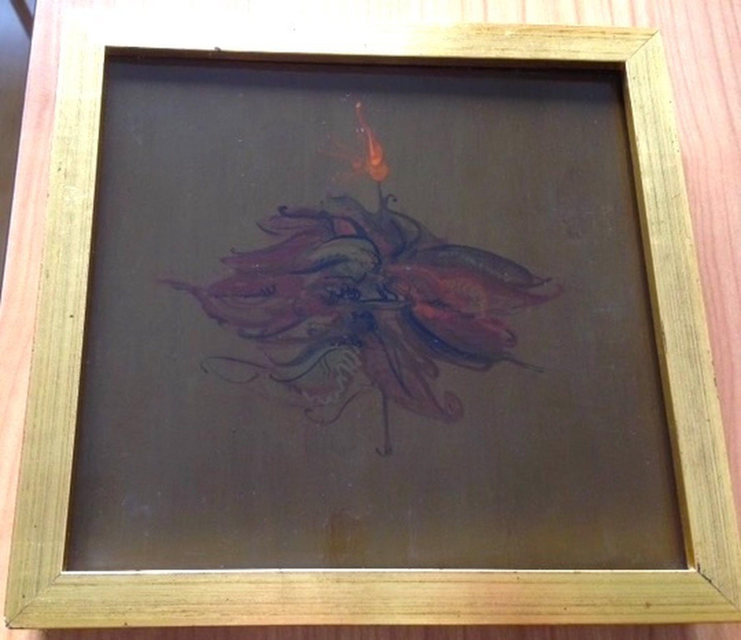 Modern schilderijtje van Marjan Taminiau 1942- in mooie lijst 22 x 21 cm   kopen? Bied vanaf 1!