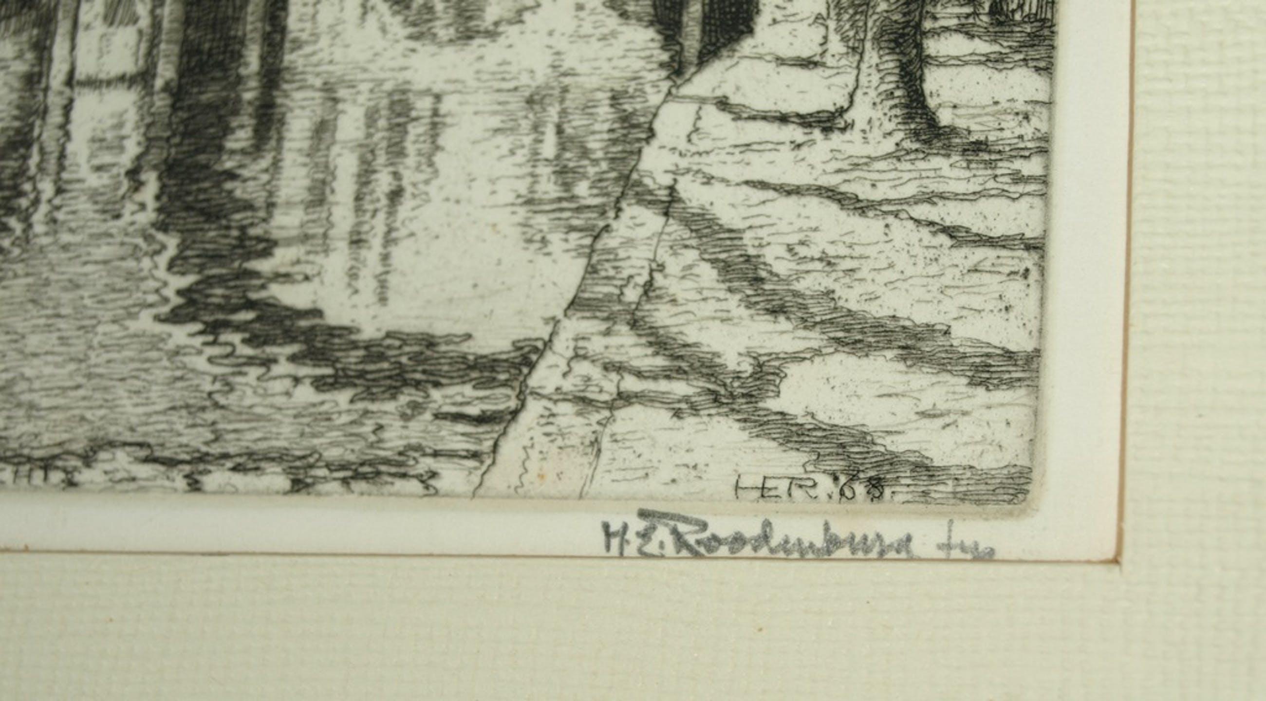 Hendrikus Elias Roodenburg (1895-1987): Ets–Utrecht –Ingelijst & gesigneerd-1968 kopen? Bied vanaf 22!