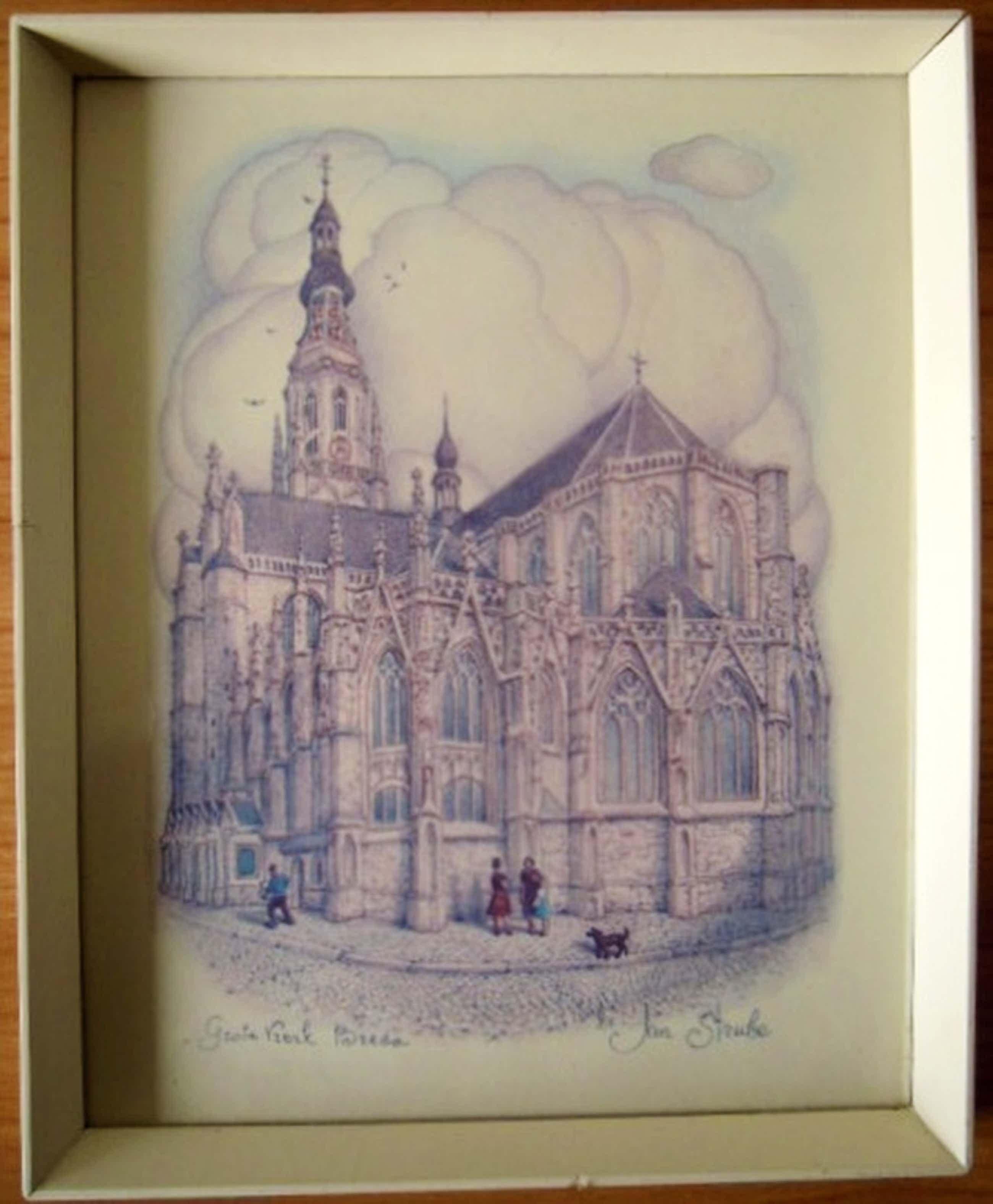 JAN STRUBE druk van grote kerk in Breda-hand gesigneerd   kopen? Bied vanaf 45!