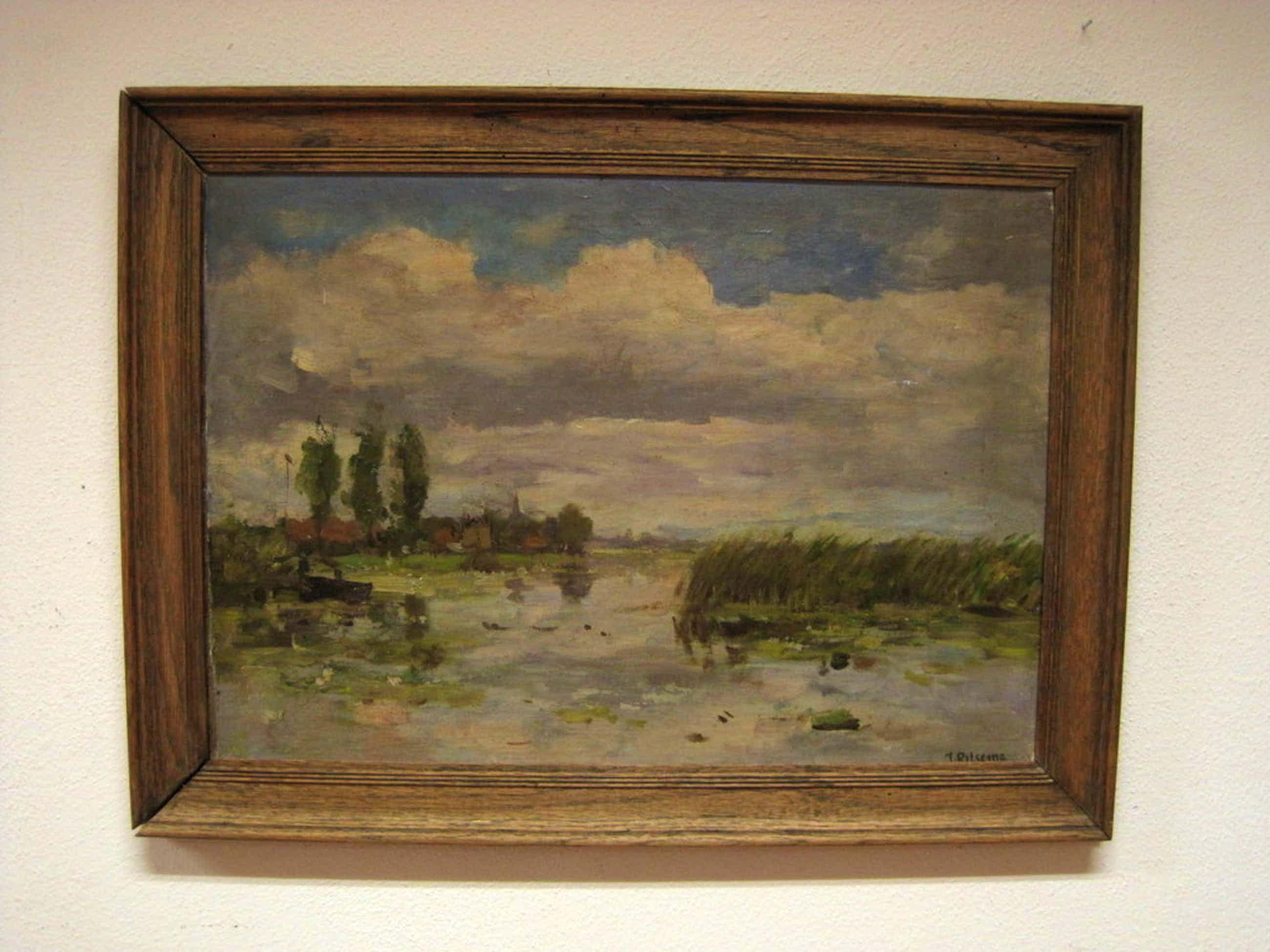 "Jacob Ritsema olieverf ""Loosdrechtse plas met kerkje Kortenhoef"" ca. 1900 kopen? Bied vanaf 70!"