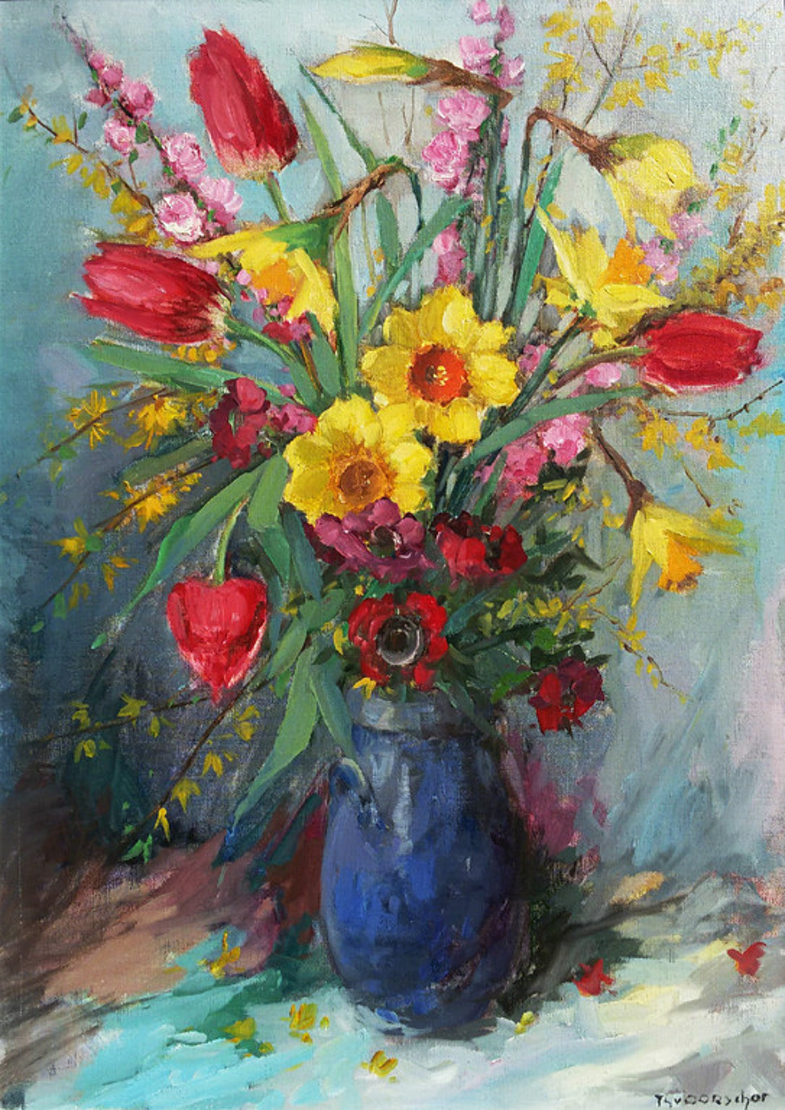 Theo van Oorschot - Voorjaarsbloemen, olieverf op doek (mooi ingelijst) kopen? Bied vanaf 275!