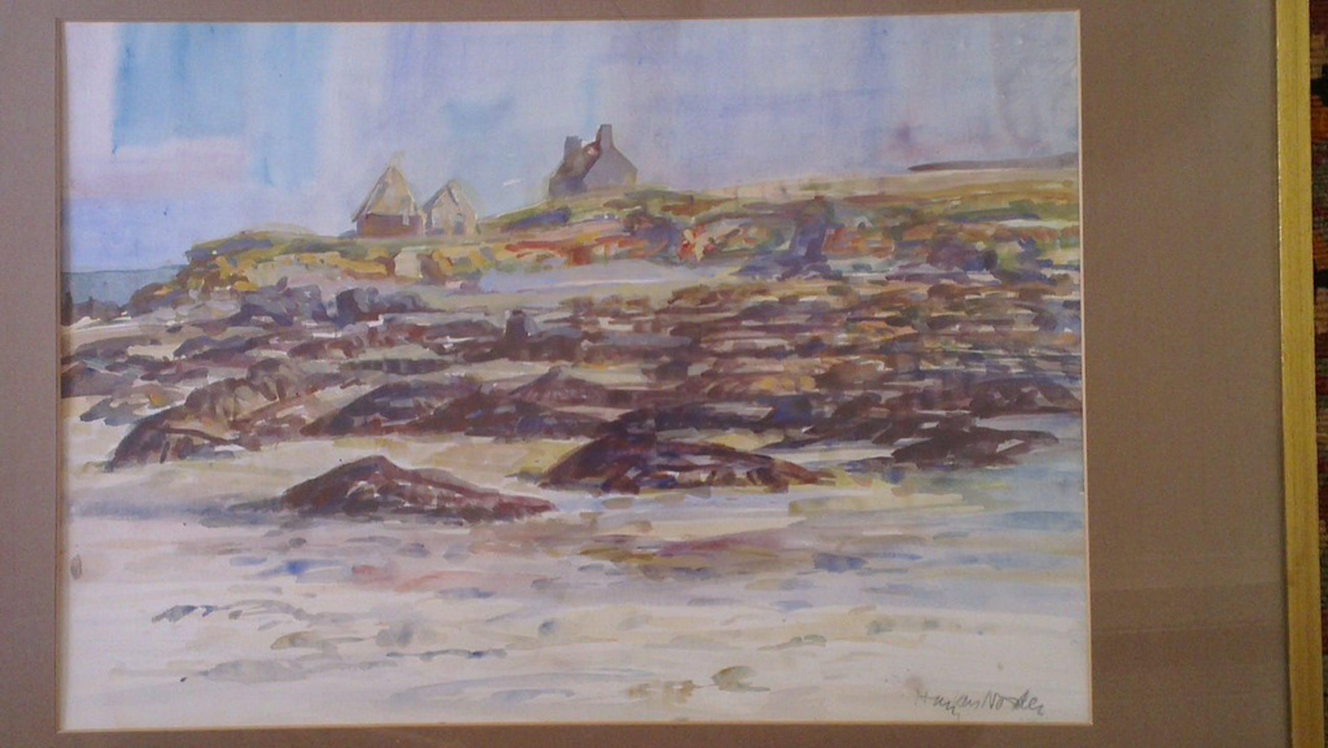 Hans van Norden: Aquarel, kust Bretagne kopen? Bied vanaf 30!