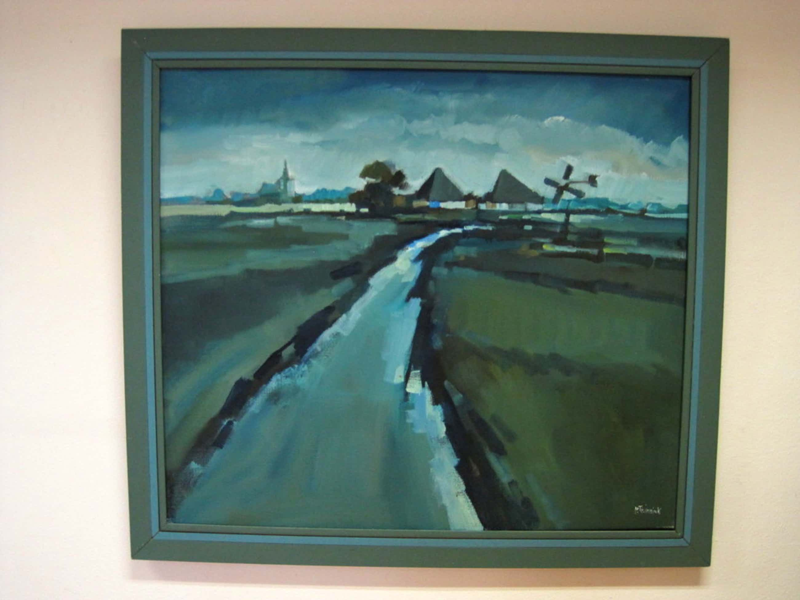 """Bob Immink  1930-1989 olieverf """"landschap Waterland (NH) """" ca 1970 gesigneerd kopen? Bied vanaf 190!"""