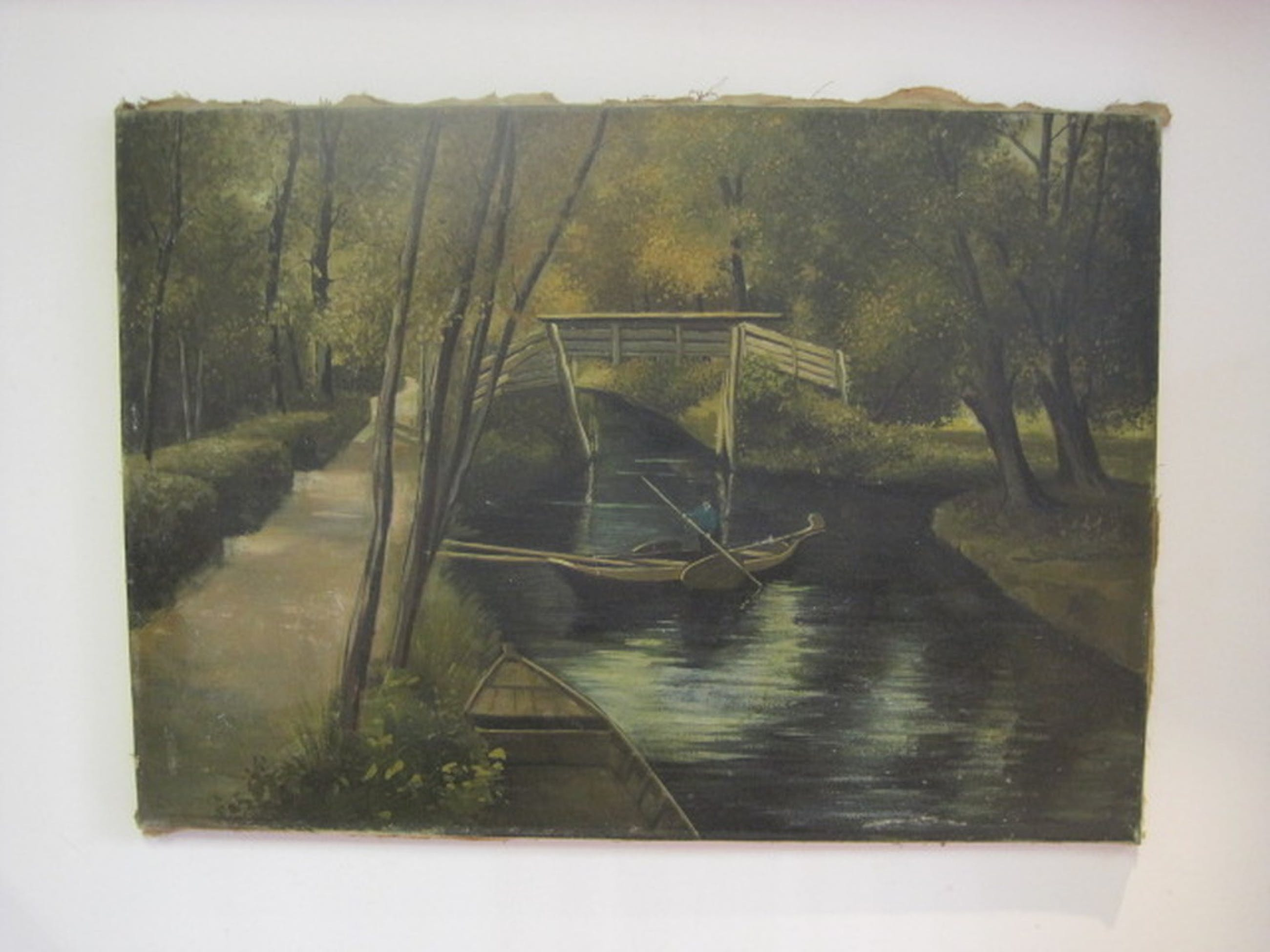 onduidelijk gesigneerd L v. Gent? landschap Giethoorn met praam ca 1920 kopen? Bied vanaf 1!