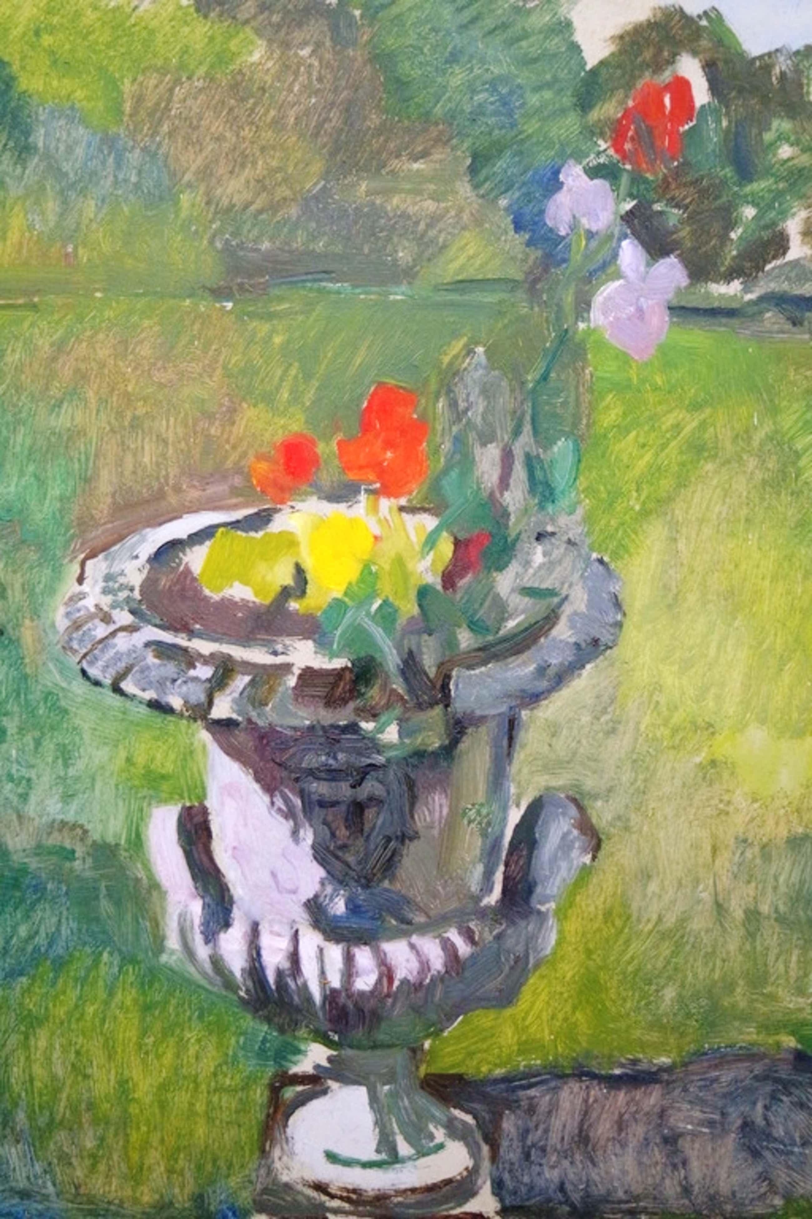Albert van DALSUM (1889 - 1971) - olieverf op board - tuinvaas kopen? Bied vanaf 60!